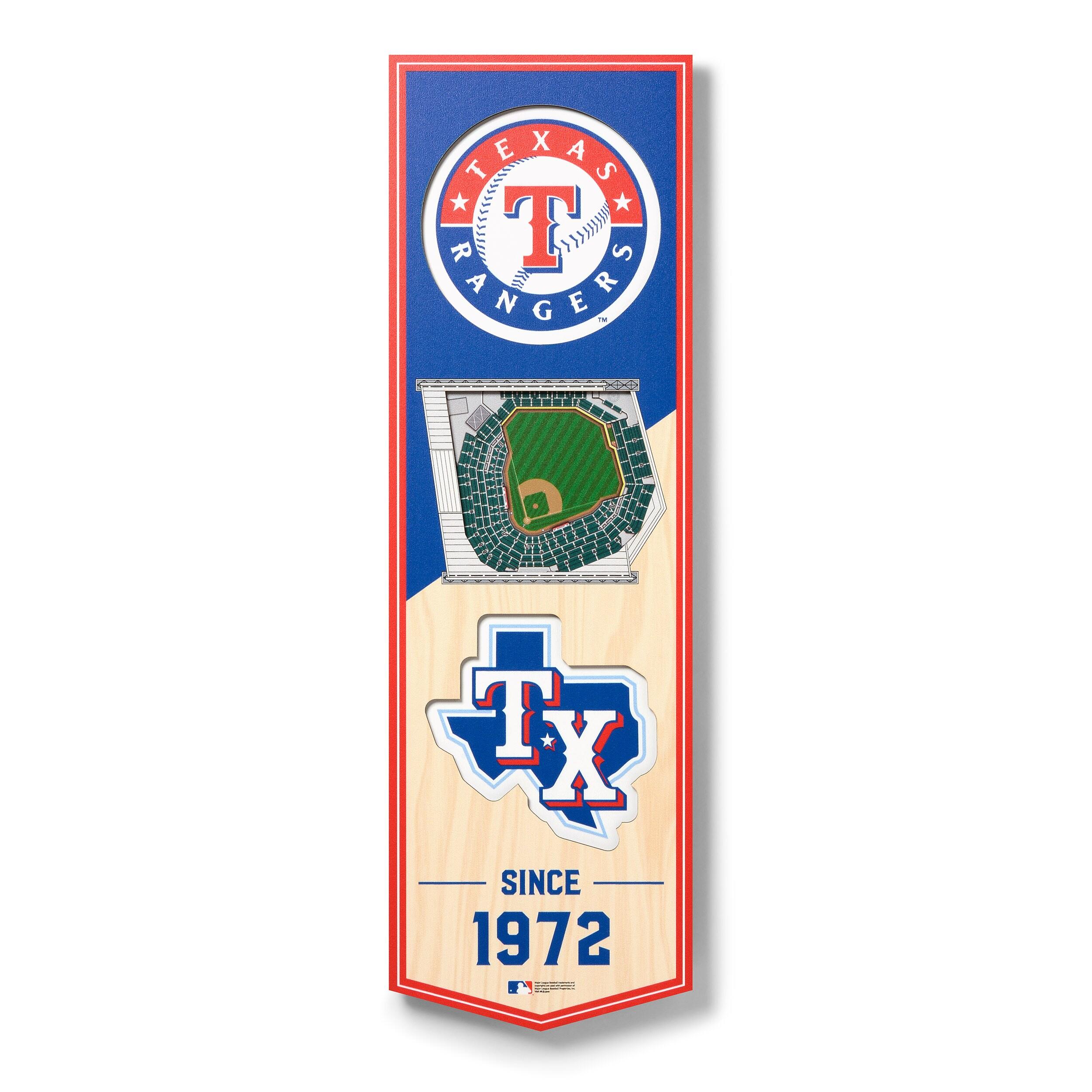 Texas Rangers 6'' x 19'' 3D StadiumView Banner