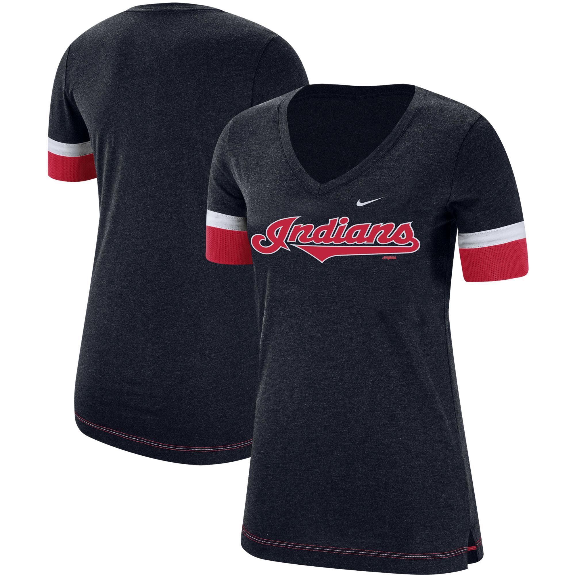 Cleveland Indians Nike Women's Mesh V-Neck T-Shirt - Navy