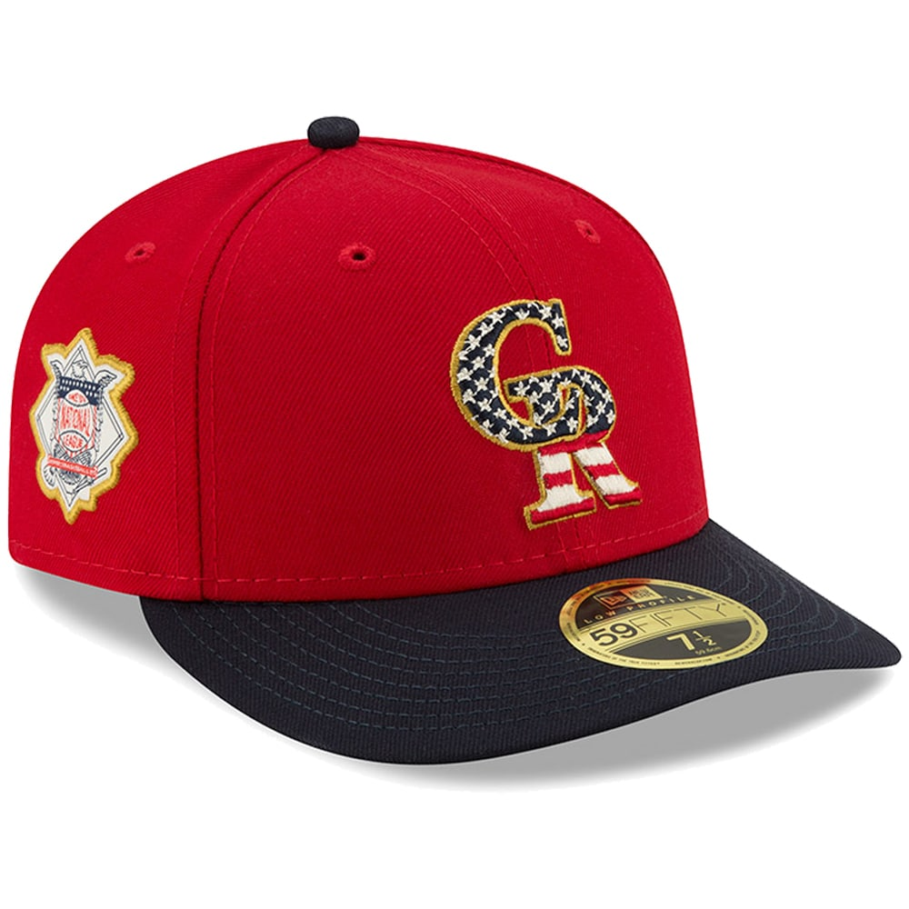 Colorado Rockies New Era Stars & Stripes 4th of July On-Field Low Profile 59FIFTY Fitted Hat - Red/Navy