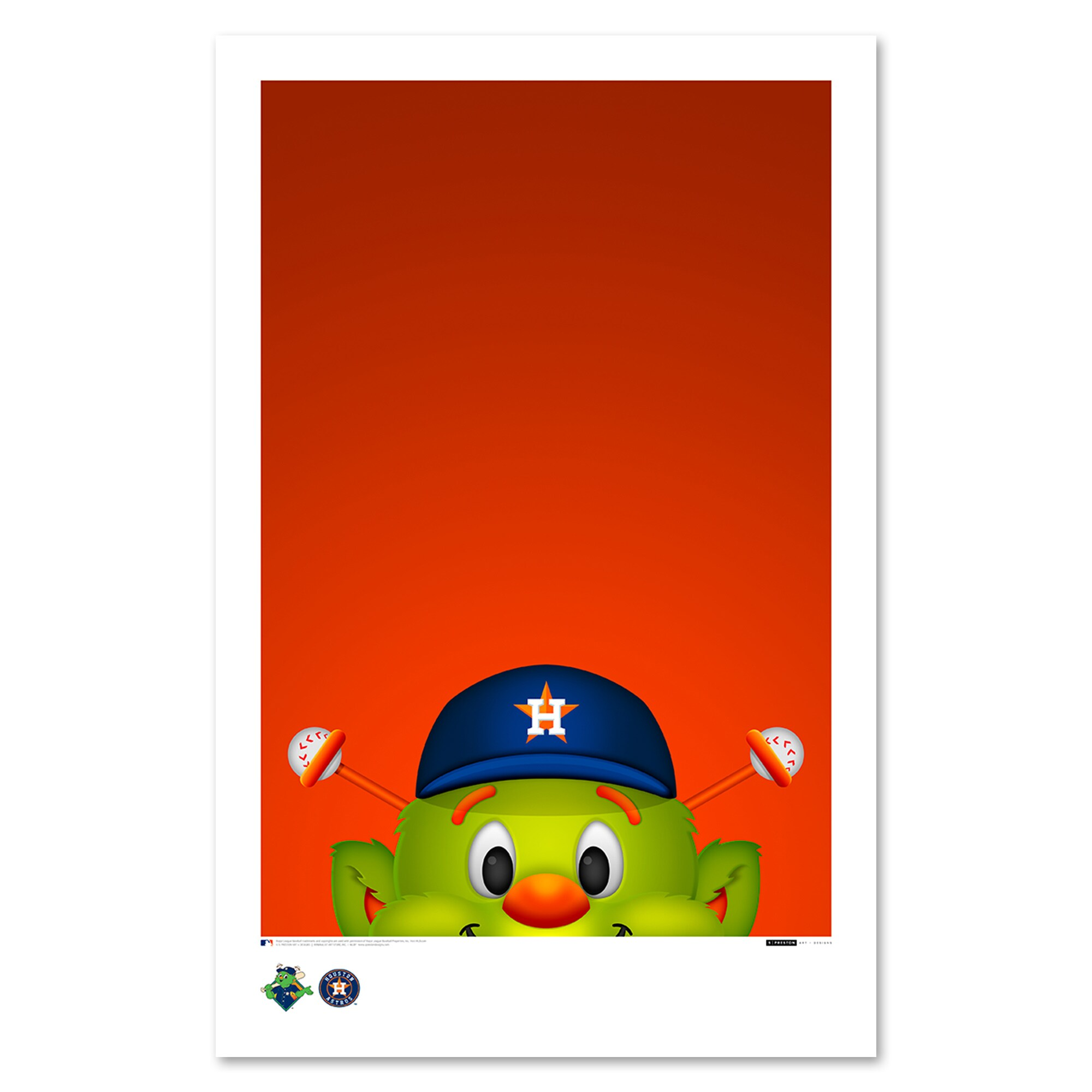 "Houston Astros 11"" x 17"" Minimalist Orbit Wall Art"