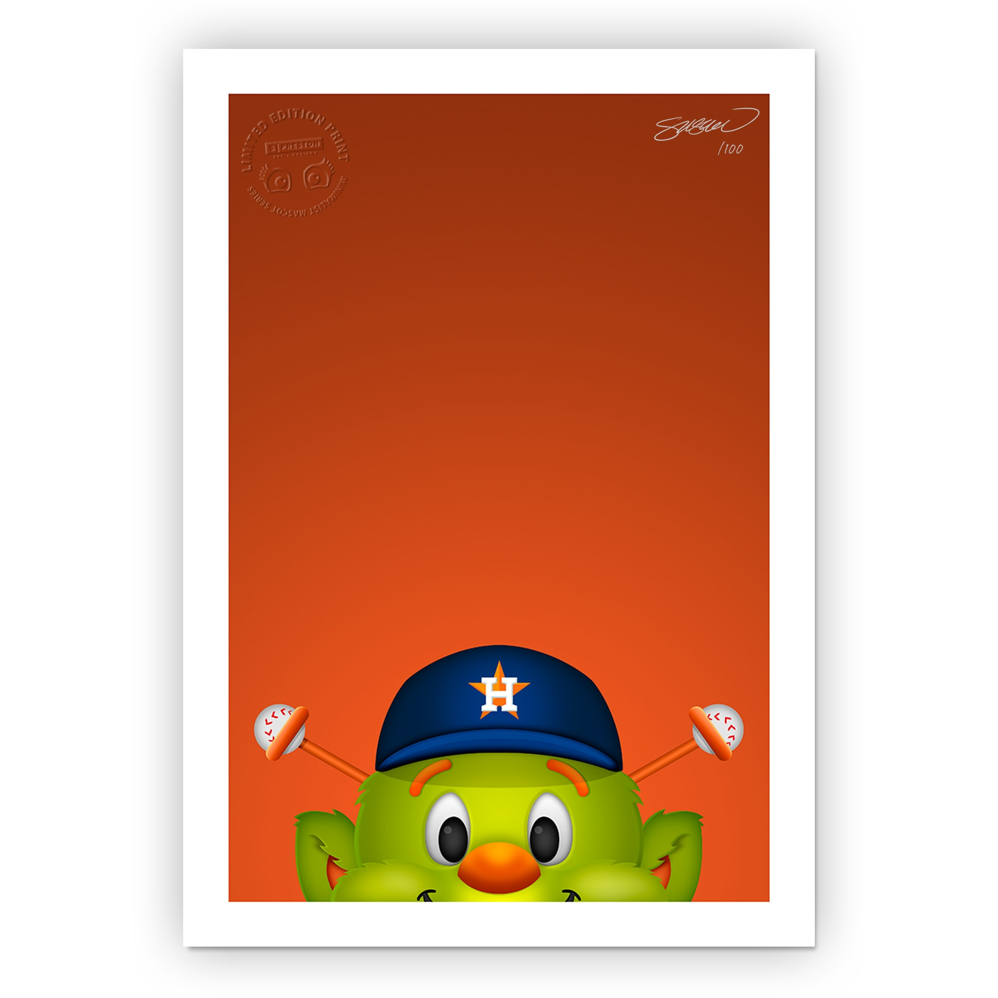 "Houston Astros 24"" x 32"" Minimalist Houston Astros Mascot Wall Art"