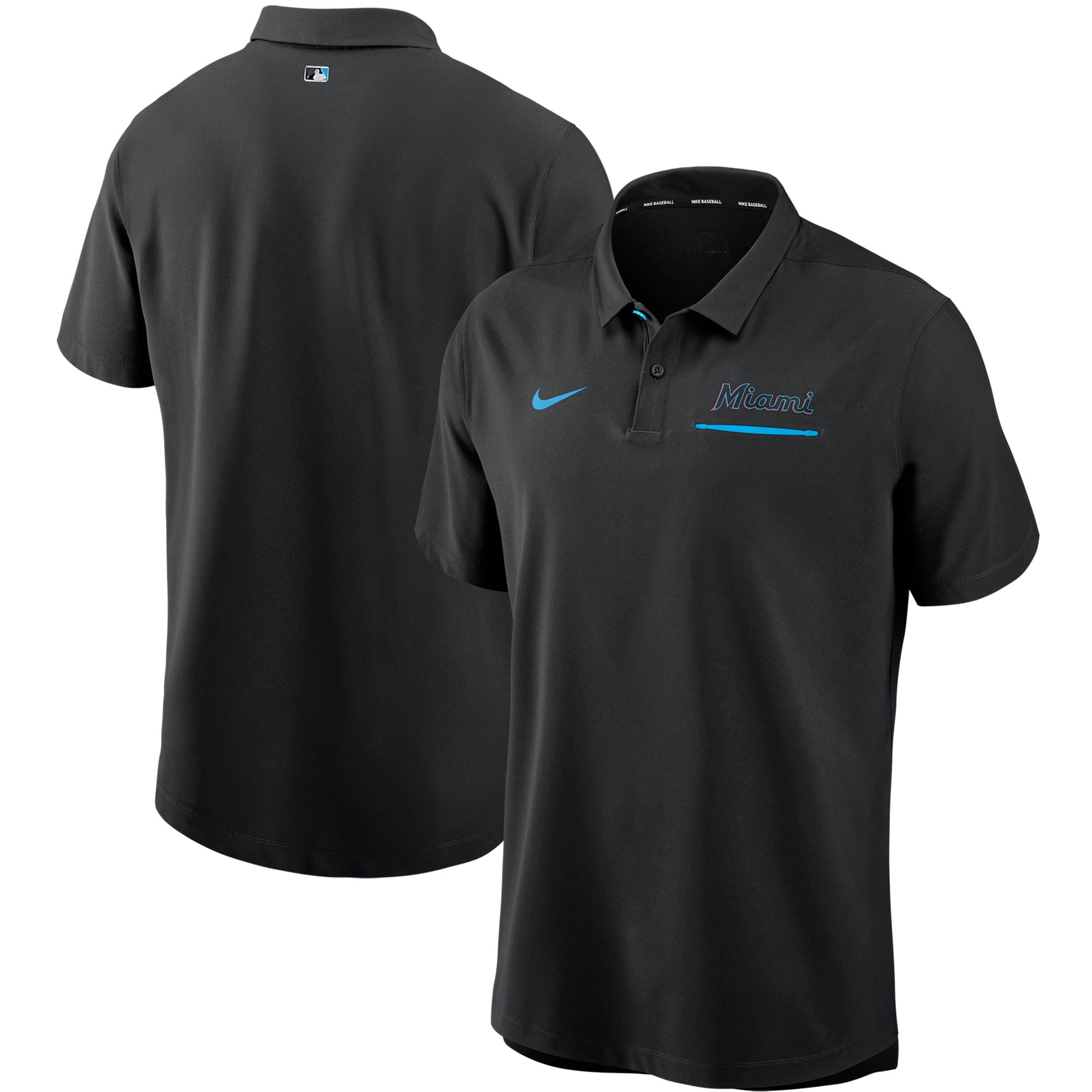 Miami Marlins Nike Authentic Collection Performance Polo - Black