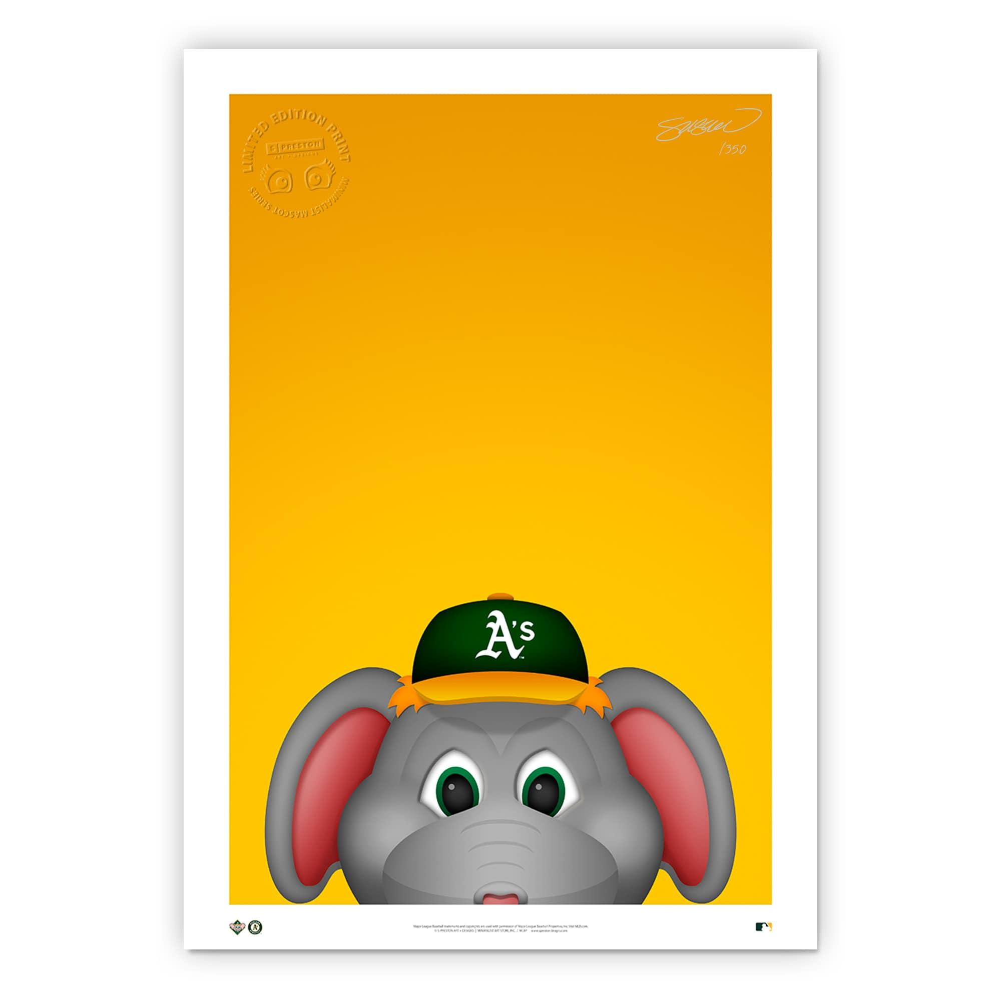 """Oakland Athletics 14"""" x 20"""" Minimalist Stomper Mascot Wall Art"""