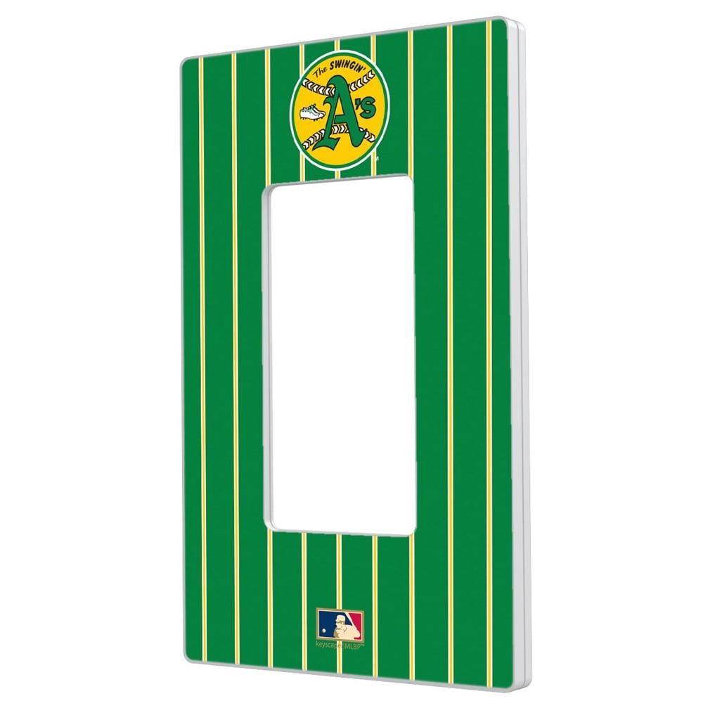Oakland Athletics 1971-1981 Cooperstown Pinstripe Single Rocker Light Switch Plate