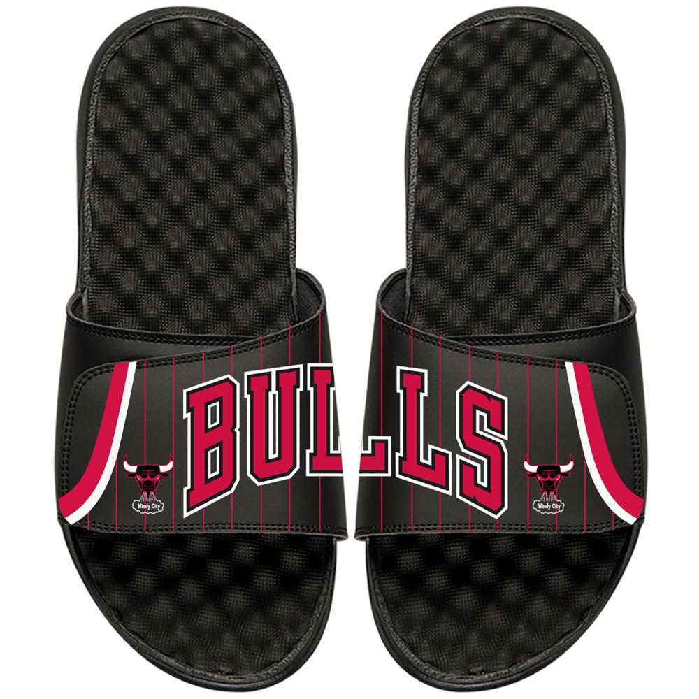 Chicago Bulls ISlide NBA Hardwood Classics Jersey Slide Sandals - Black