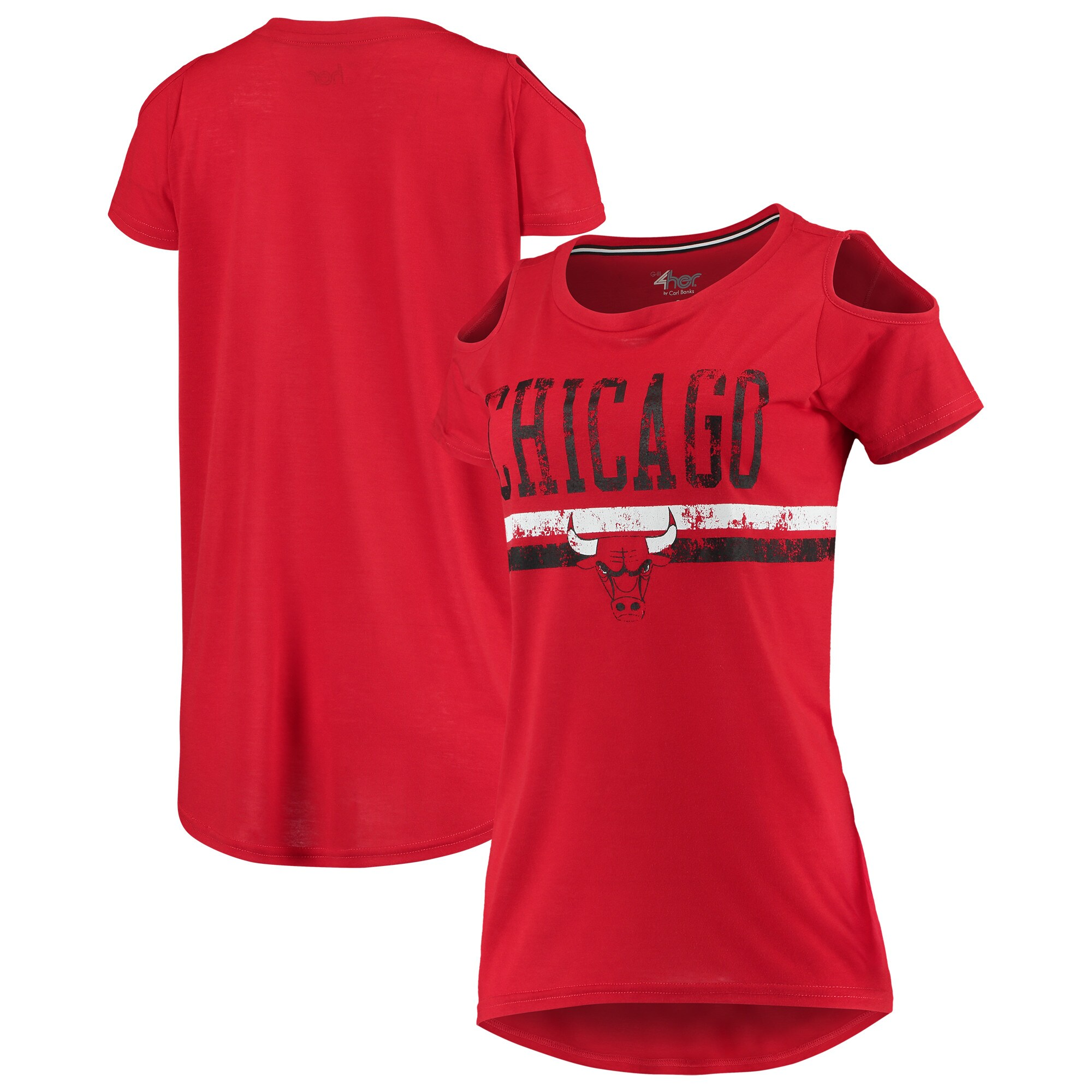 Chicago Bulls G-III 4Her by Carl Banks Women's Nothing but Net Cold Shoulder Scoop Neck T-Shirt - Red