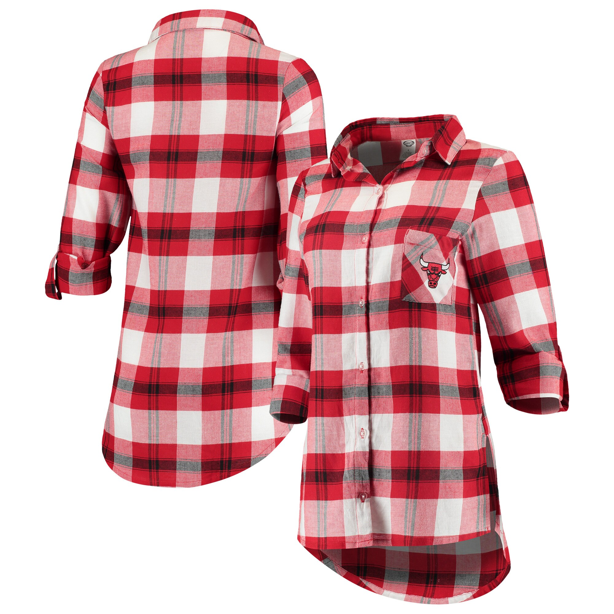 Chicago Bulls Concepts Sport Women's Headway Long Sleeve Plaid Tunic - Red/Black
