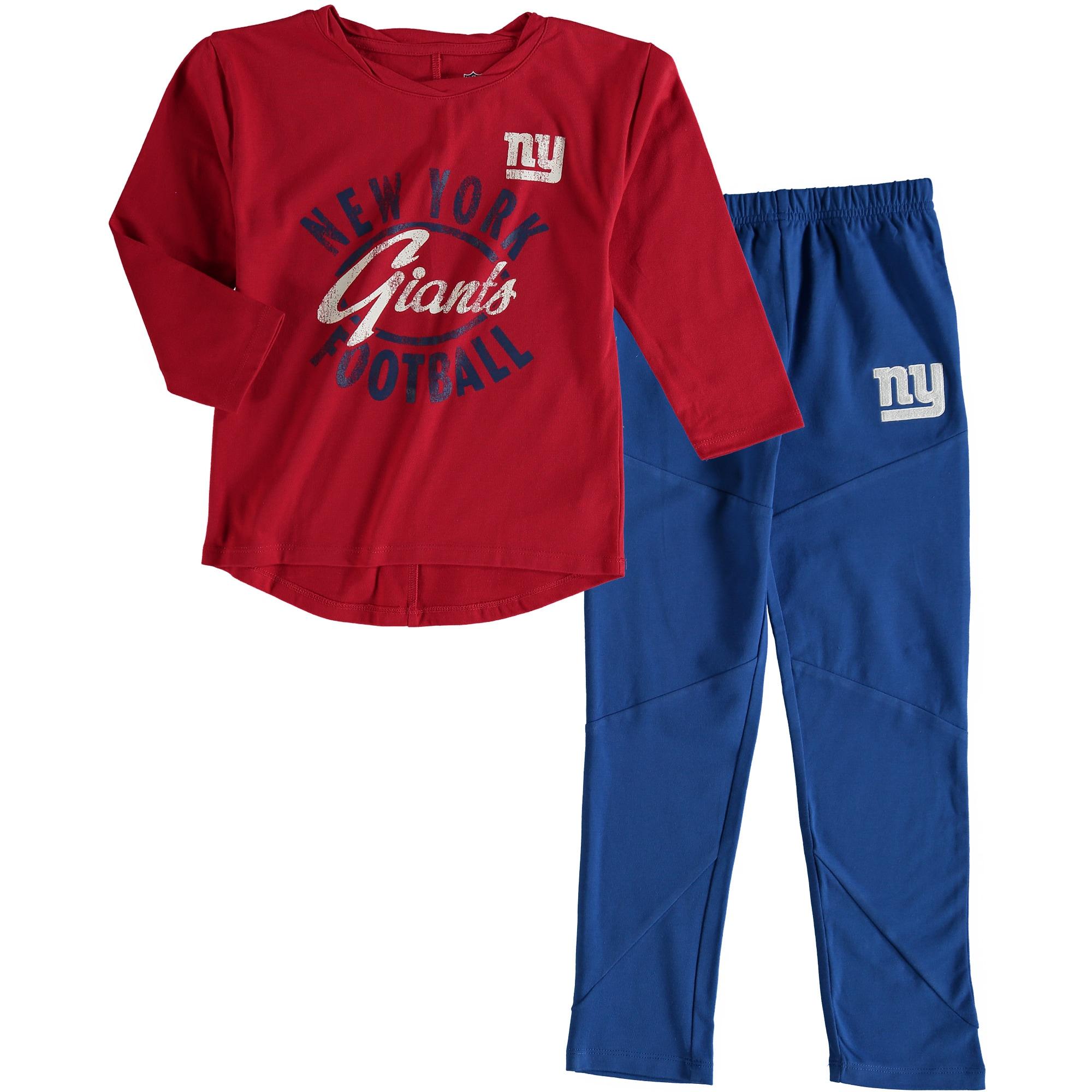 New York Giants Girl's Preschool Fan Gear Fan Gear Football Sweetheart Long Sleeve T-Shirt and Pant Set - Red