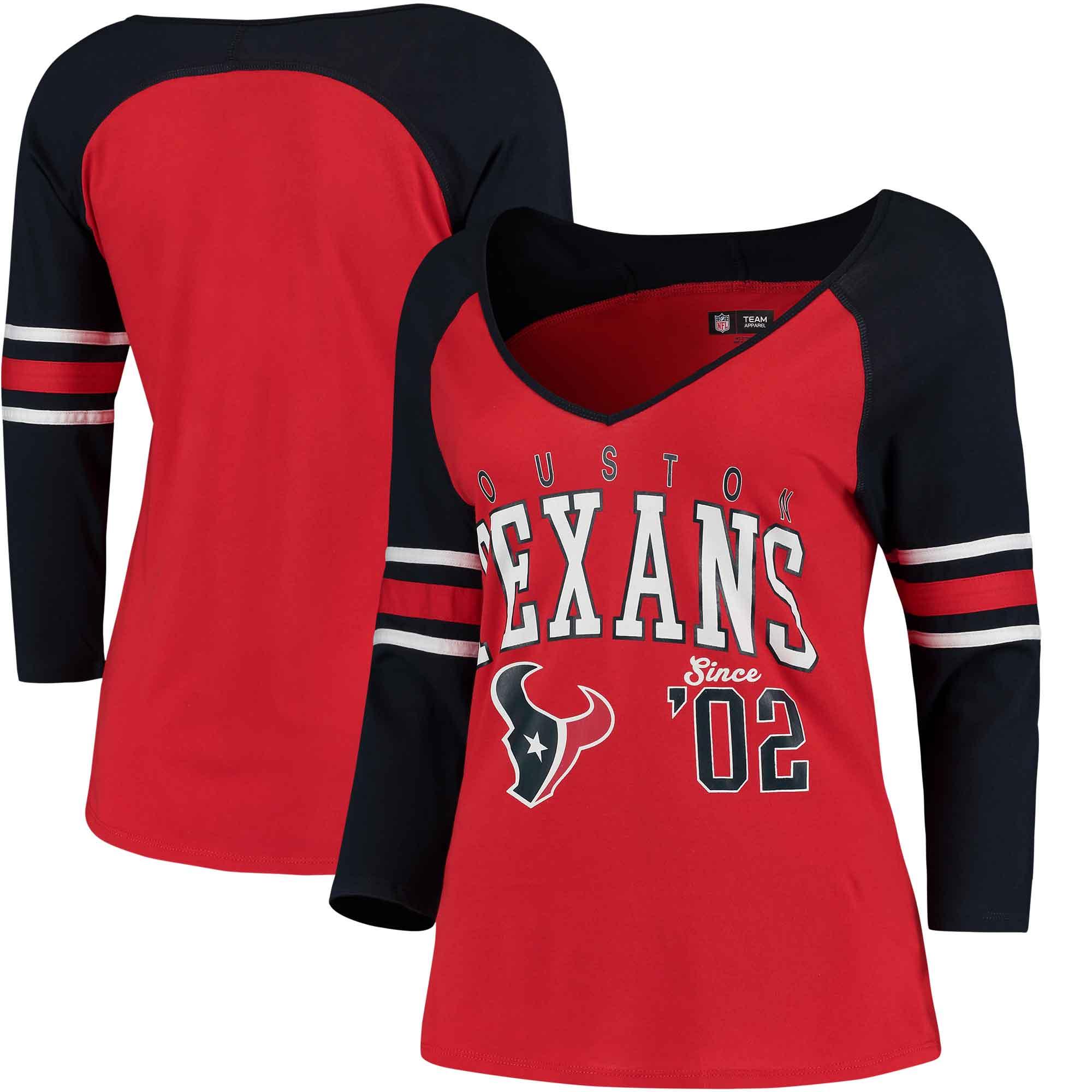Houston Texans 5th & Ocean by New Era Women's Blind Side 3/4-Sleeve Raglan V-Neck T-Shirt - Red/Navy