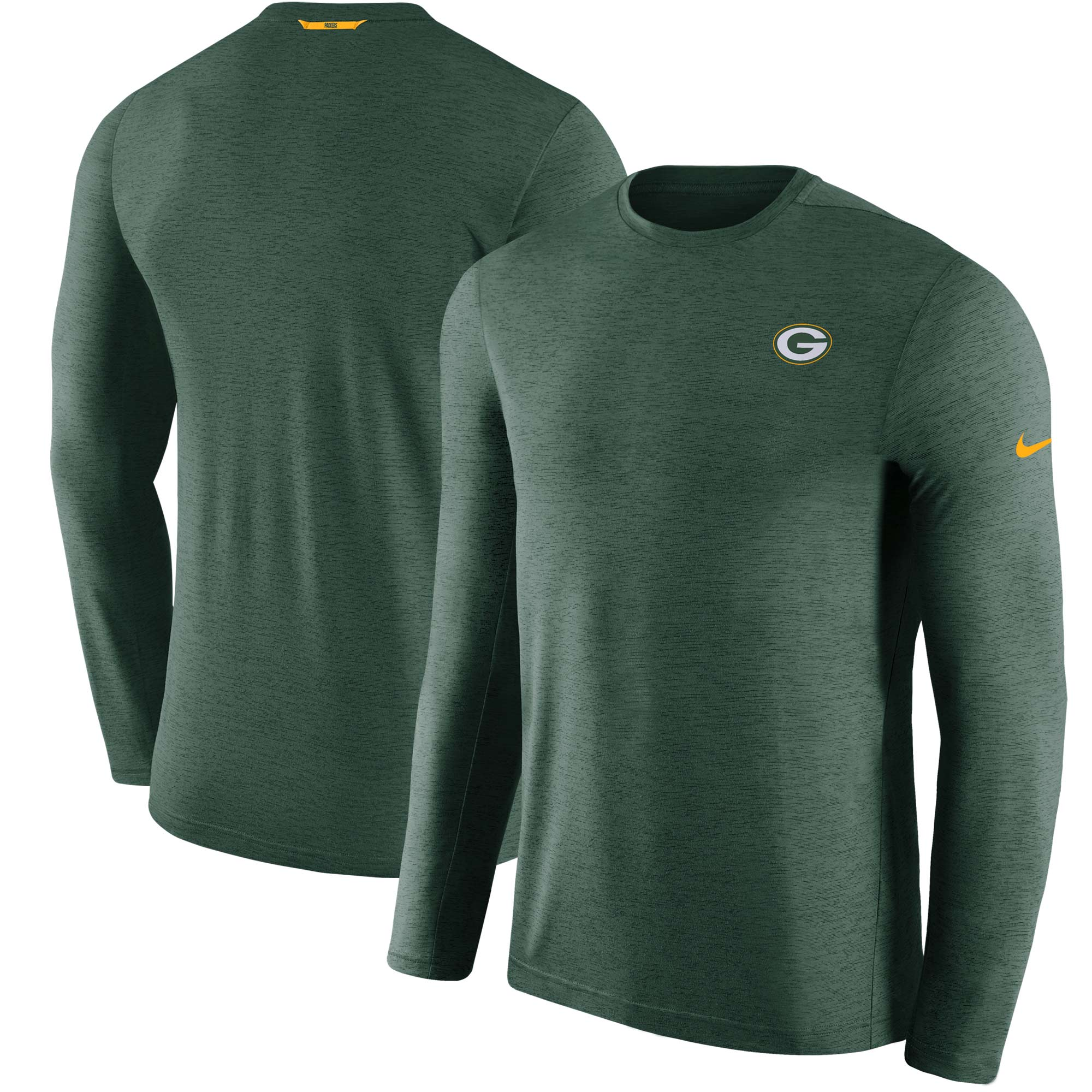 Green Bay Packers Nike Sideline Coaches Primary Logo Long Sleeve Performance T-Shirt - Green