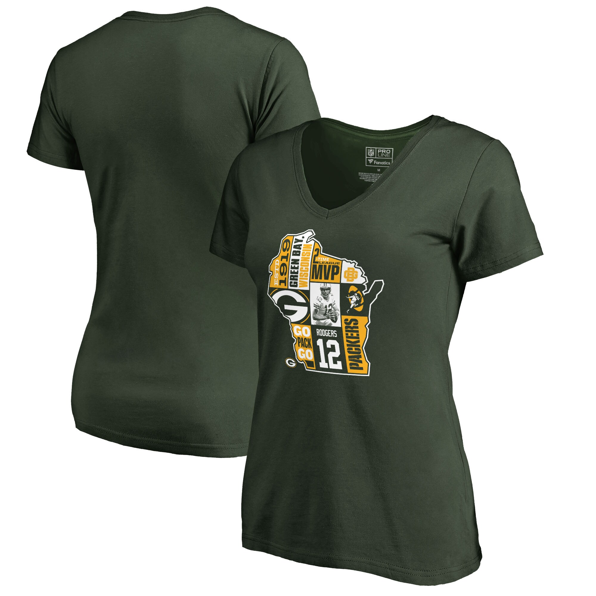 Aaron Rodgers Green Bay Packers NFL Pro Line by Fanatics Branded Women's Player State T-Shirt - Green
