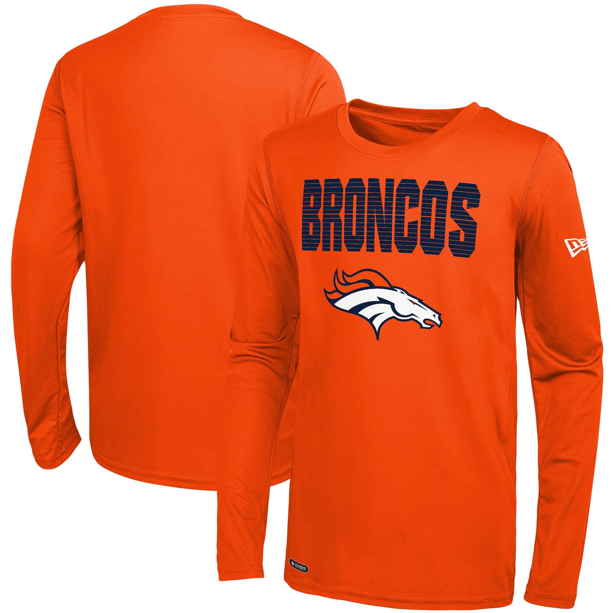 Denver Broncos New Era Combine 50 Yard Line Long Sleeve T-Shirt - Orange