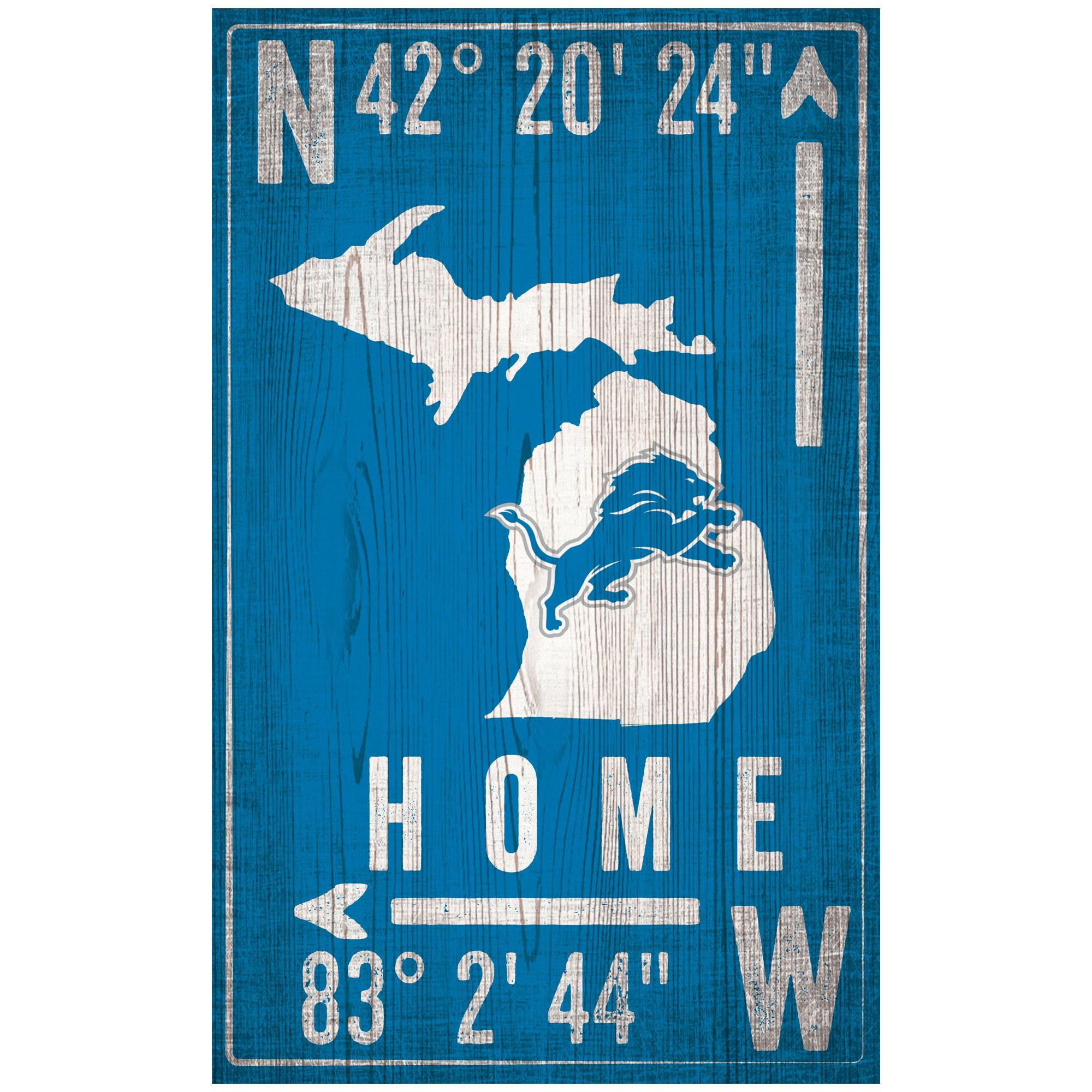 """Detroit Lions 11"""" x 19"""" Coordinate Sign"""