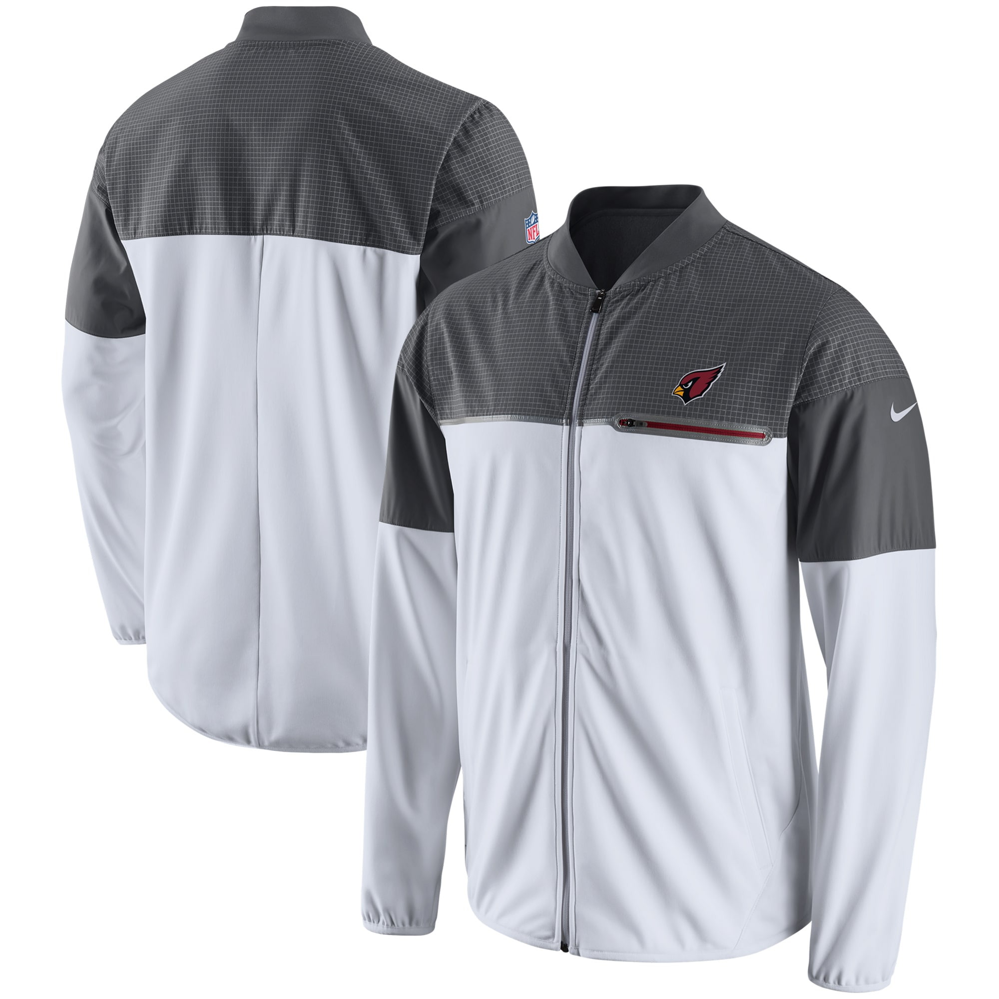 Arizona Cardinals Nike Champ Drive Flash Hybrid Full-Zip Jacket - White/Gray