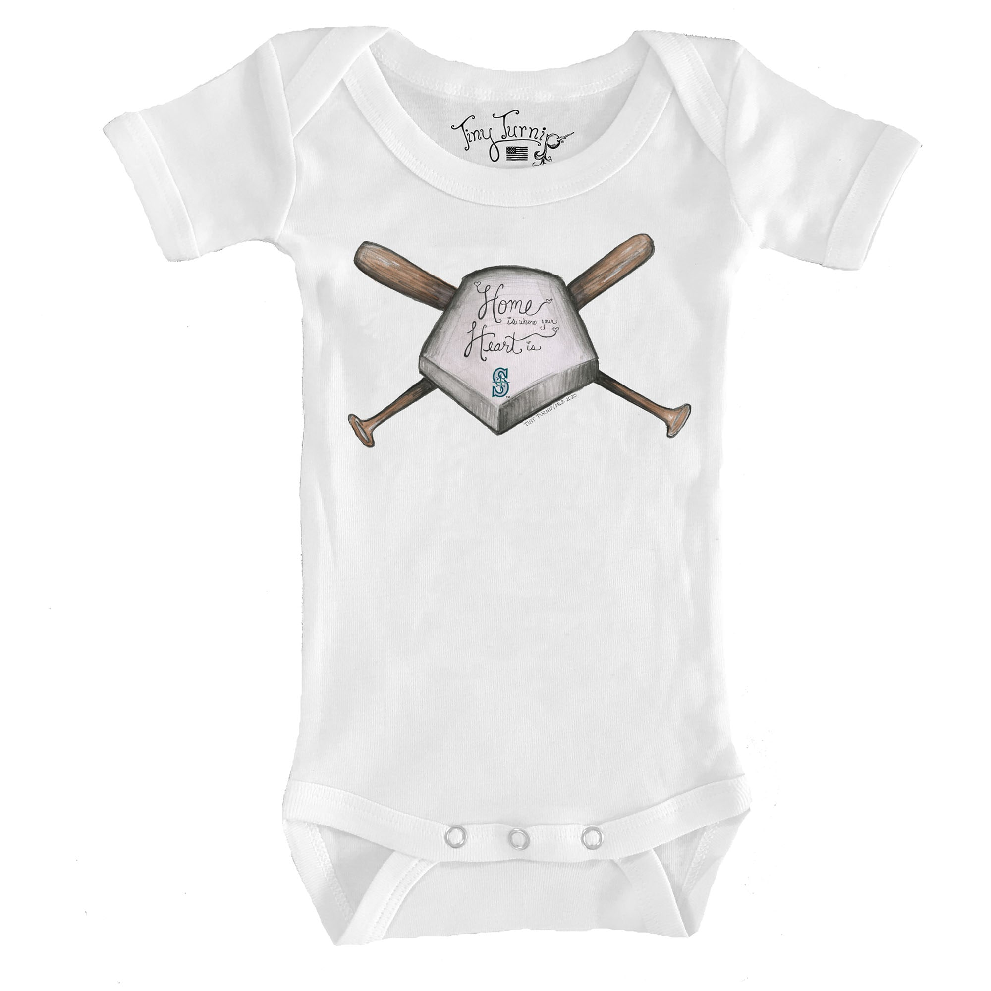 Seattle Mariners Tiny Turnip Infant Home Is Where Your Heart Is Bodysuit - White