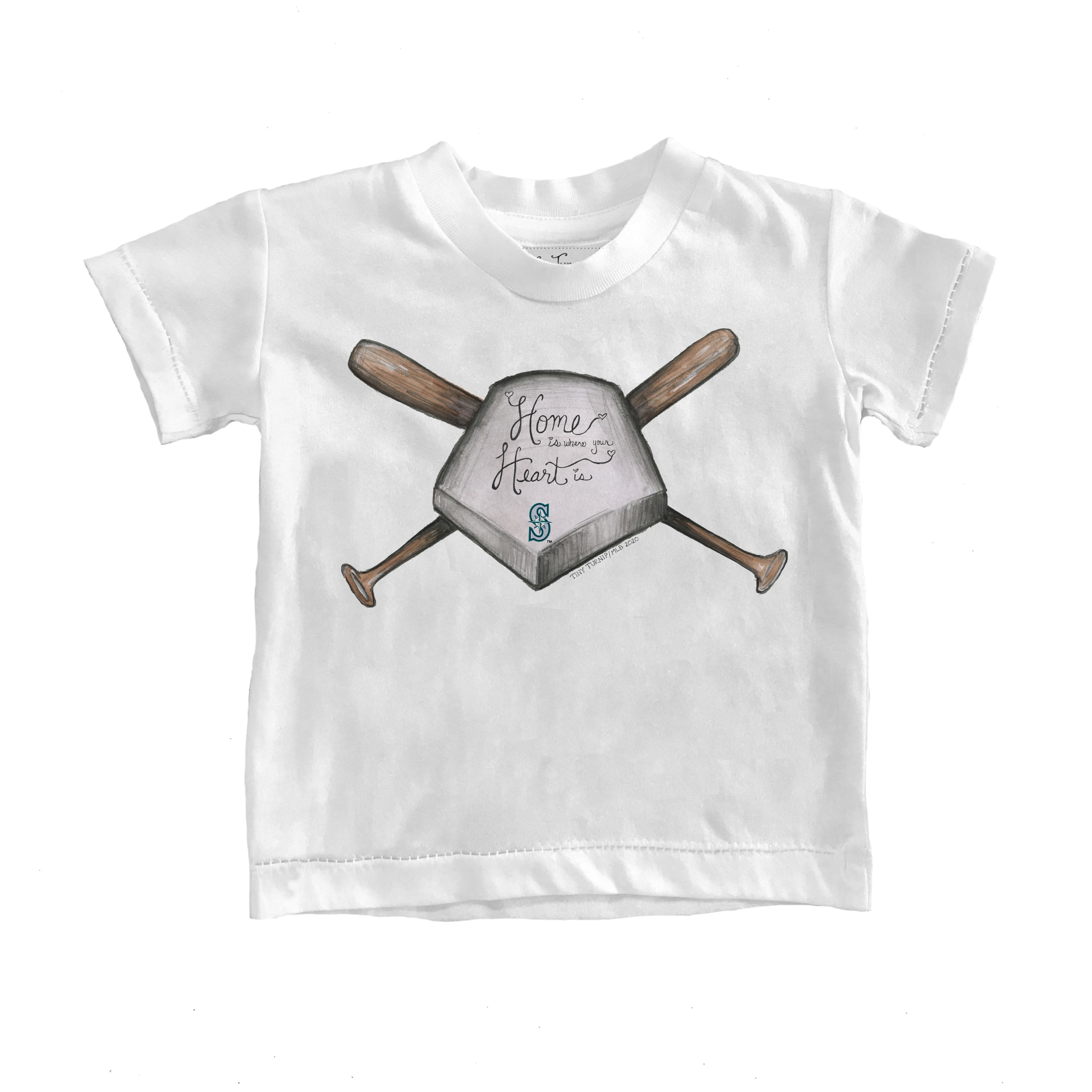 Seattle Mariners Tiny Turnip Toddler Home Is Where Your Heart Is T-Shirt - White