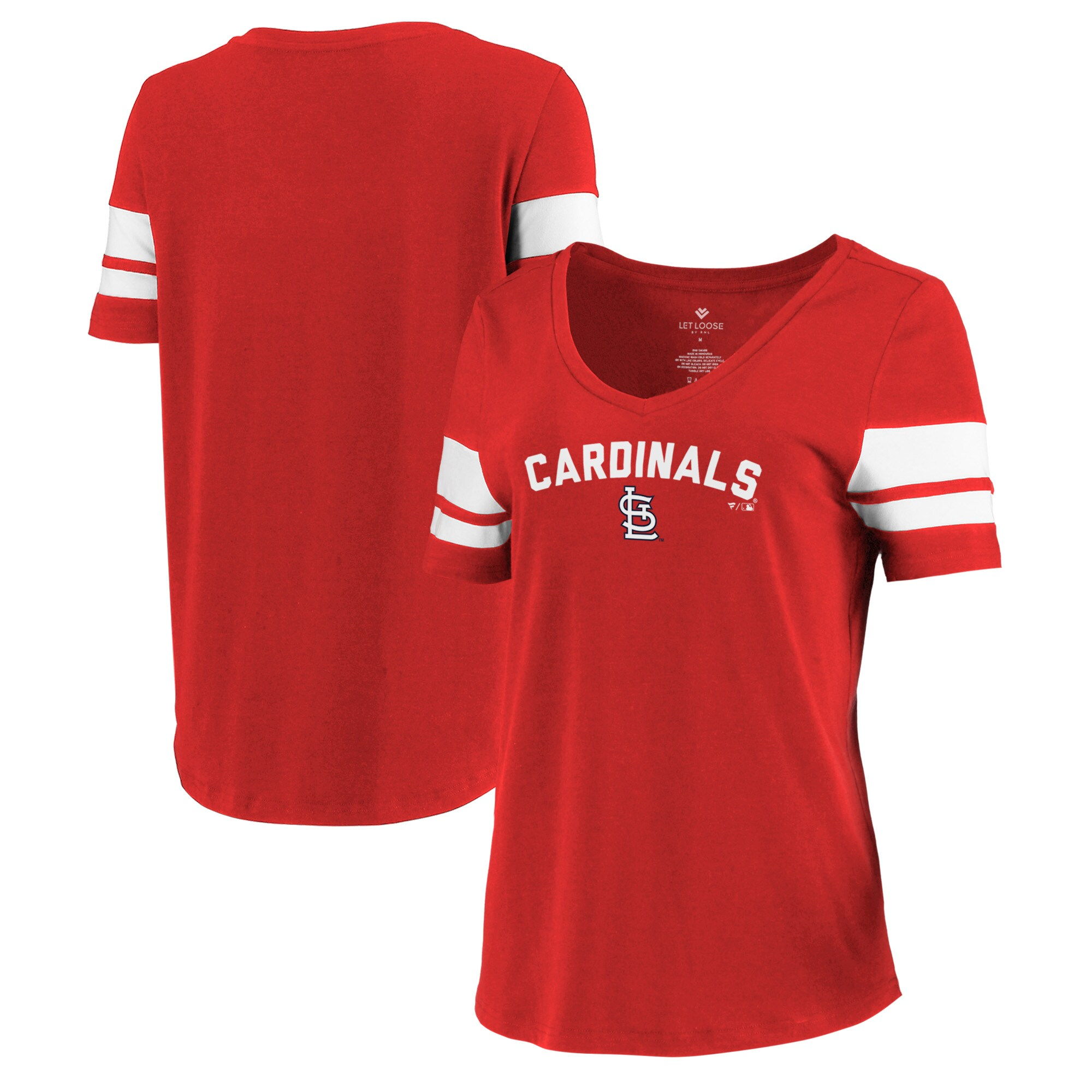 St. Louis Cardinals Let Loose by RNL Women's Scramble Two Stripe Tri-Blend T-Shirt - Red