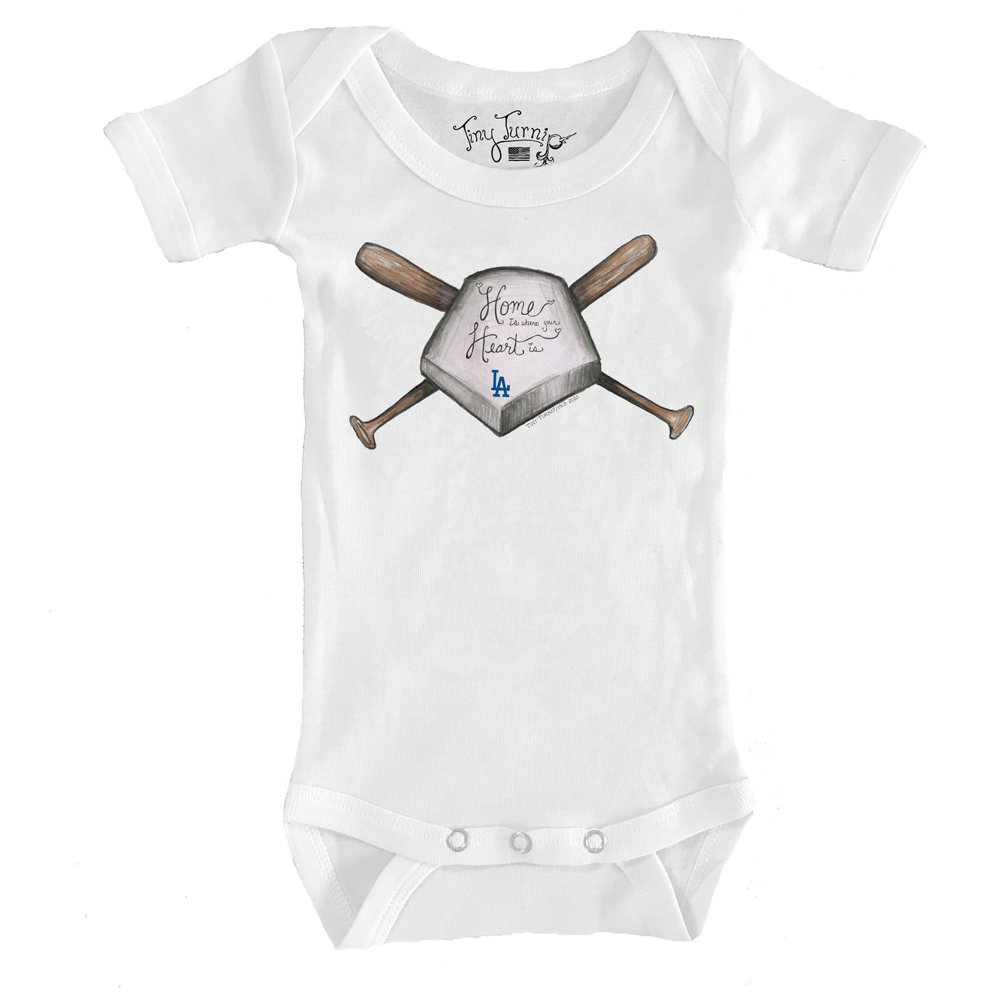 Los Angeles Dodgers Tiny Turnip Infant Home Is Where Your Heart Is Bodysuit - White