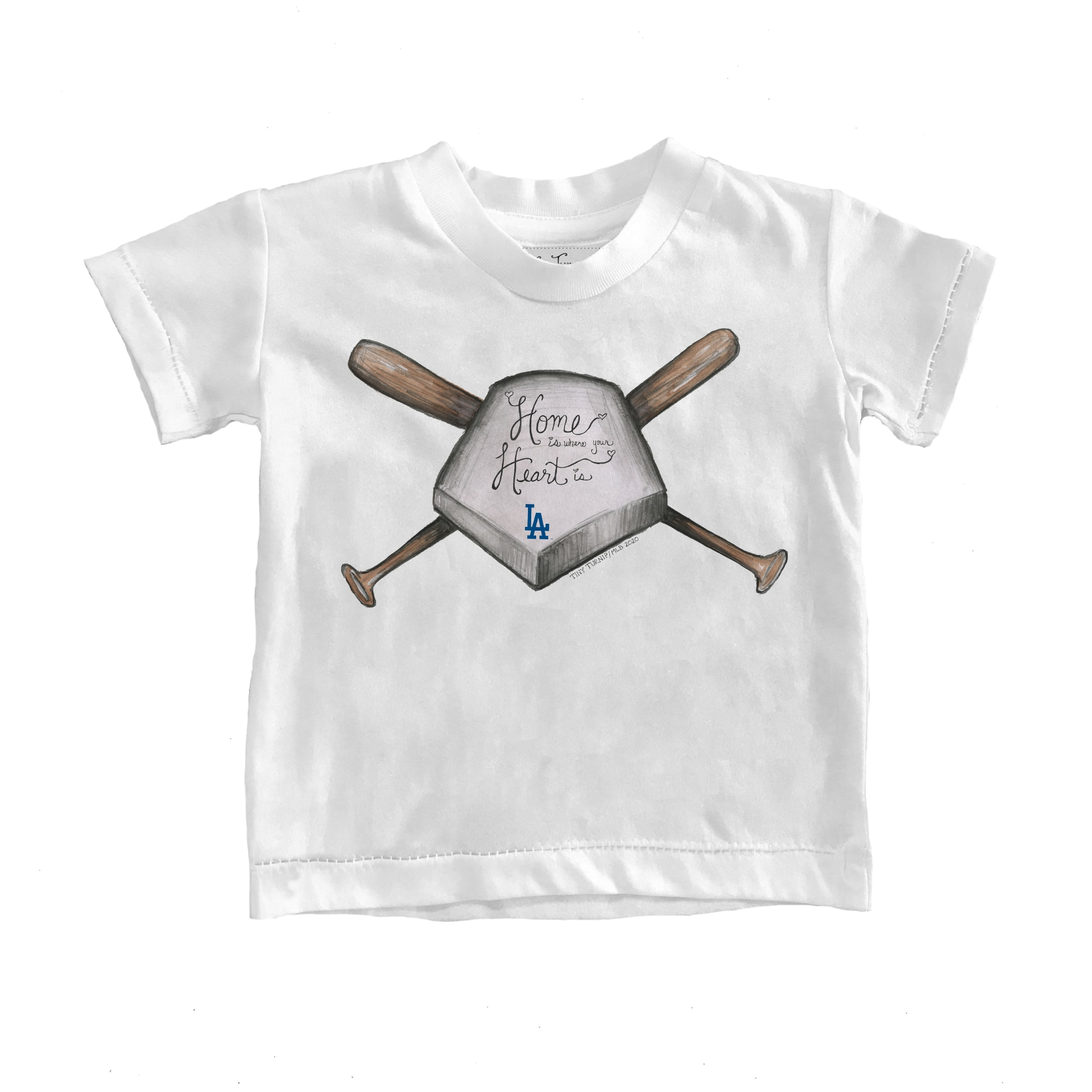 Los Angeles Dodgers Tiny Turnip Toddler Home Is Where Your Heart Is T-Shirt - White