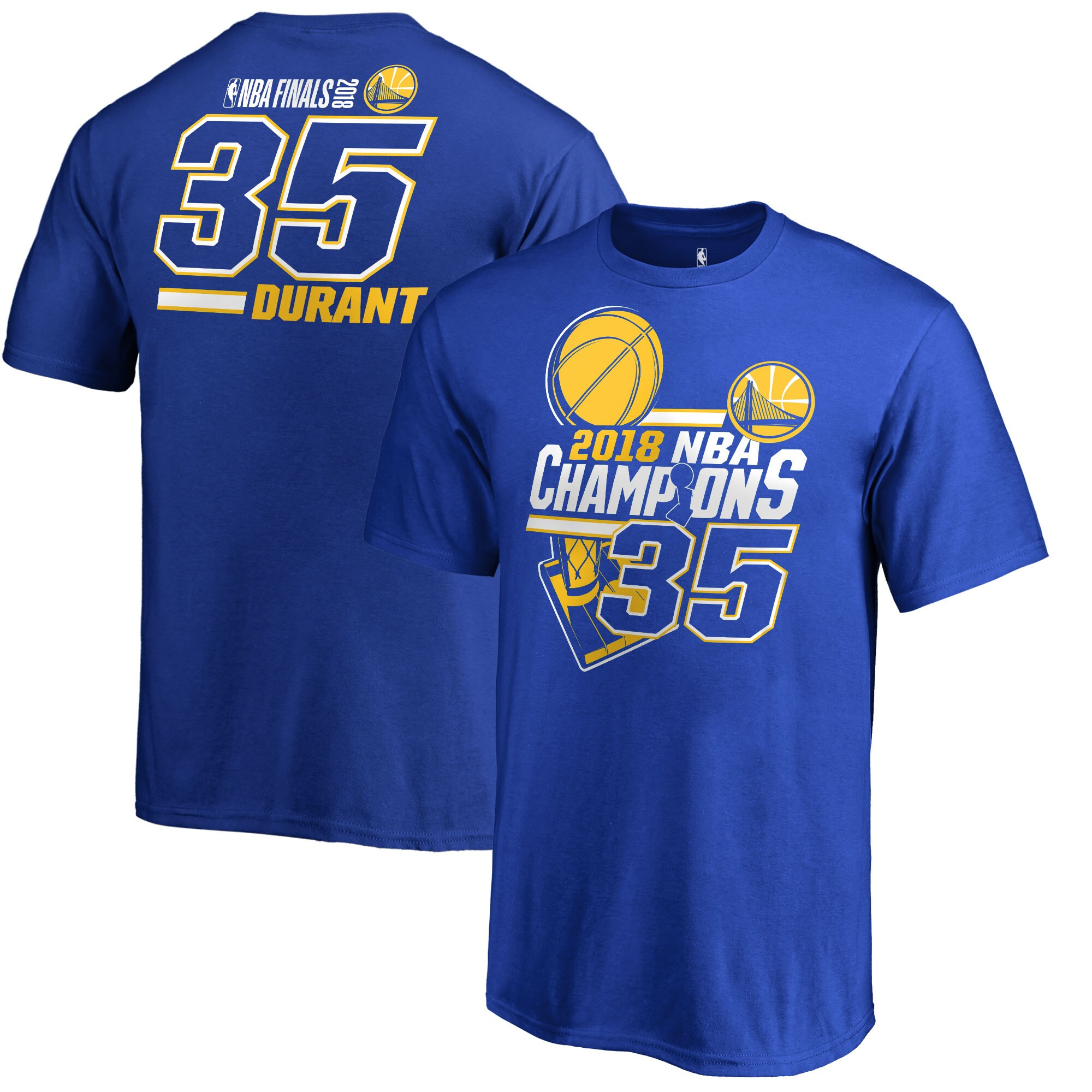 Kevin Durant Golden State Warriors Fanatics Branded Youth 2018 NBA Finals Champions Name and Number T-Shirt - Royal