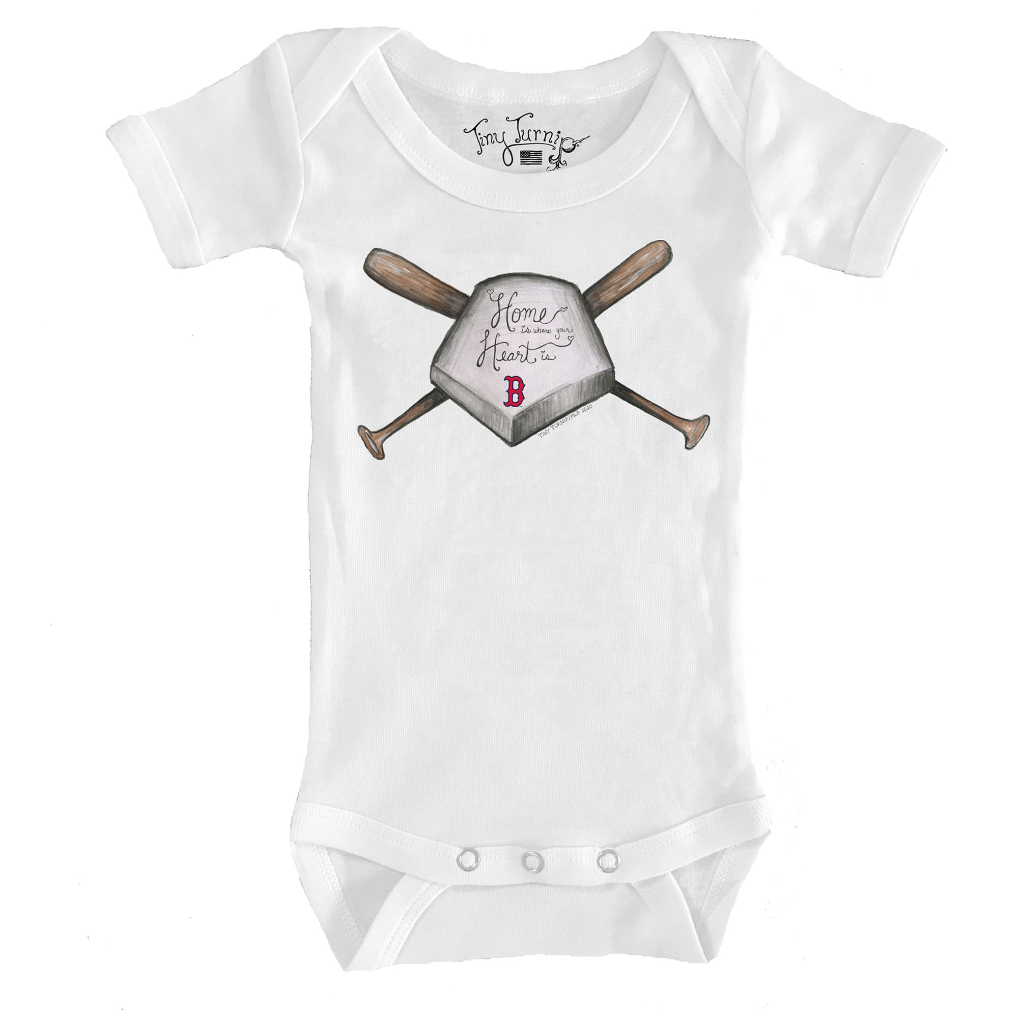 Boston Red Sox Tiny Turnip Infant Home Is Where Your Heart Is Bodysuit - White