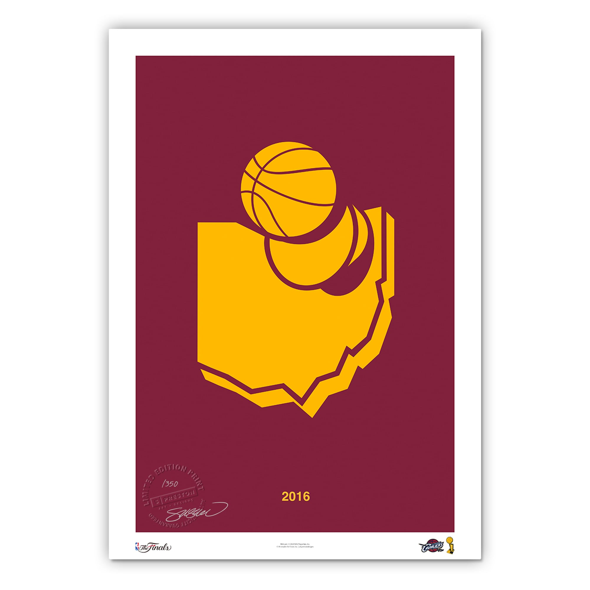 Cleveland Cavaliers 2016 NBA Finals Champions 11'' x 17'' Minimalist Art Poster