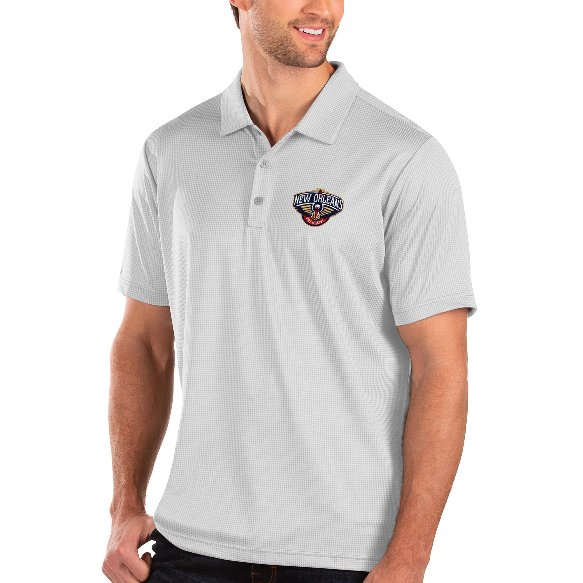 New Orleans Pelicans Antigua Balance Polo - White