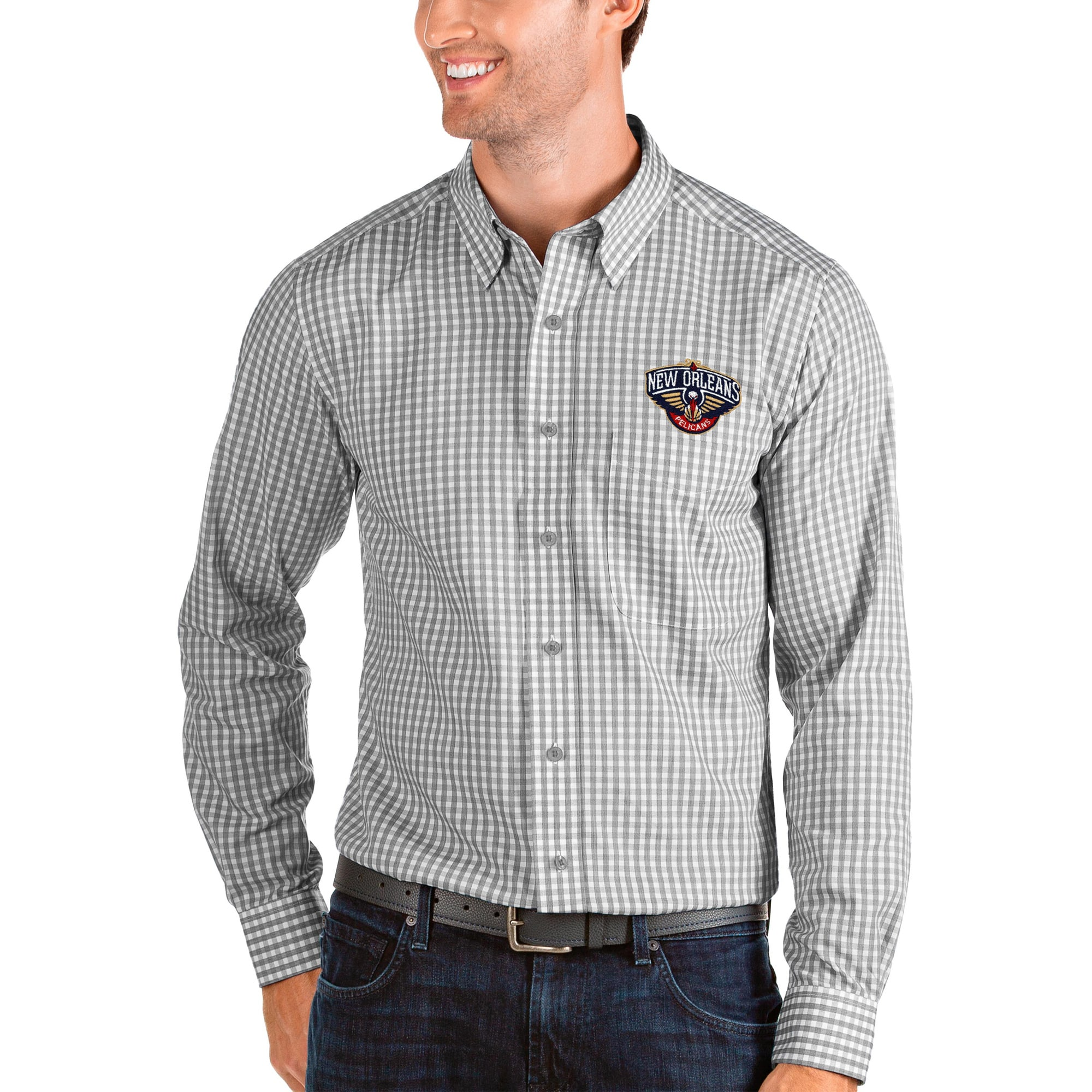 New Orleans Pelicans Antigua Structure Long Sleeve Button-Up Shirt - Charcoal/White