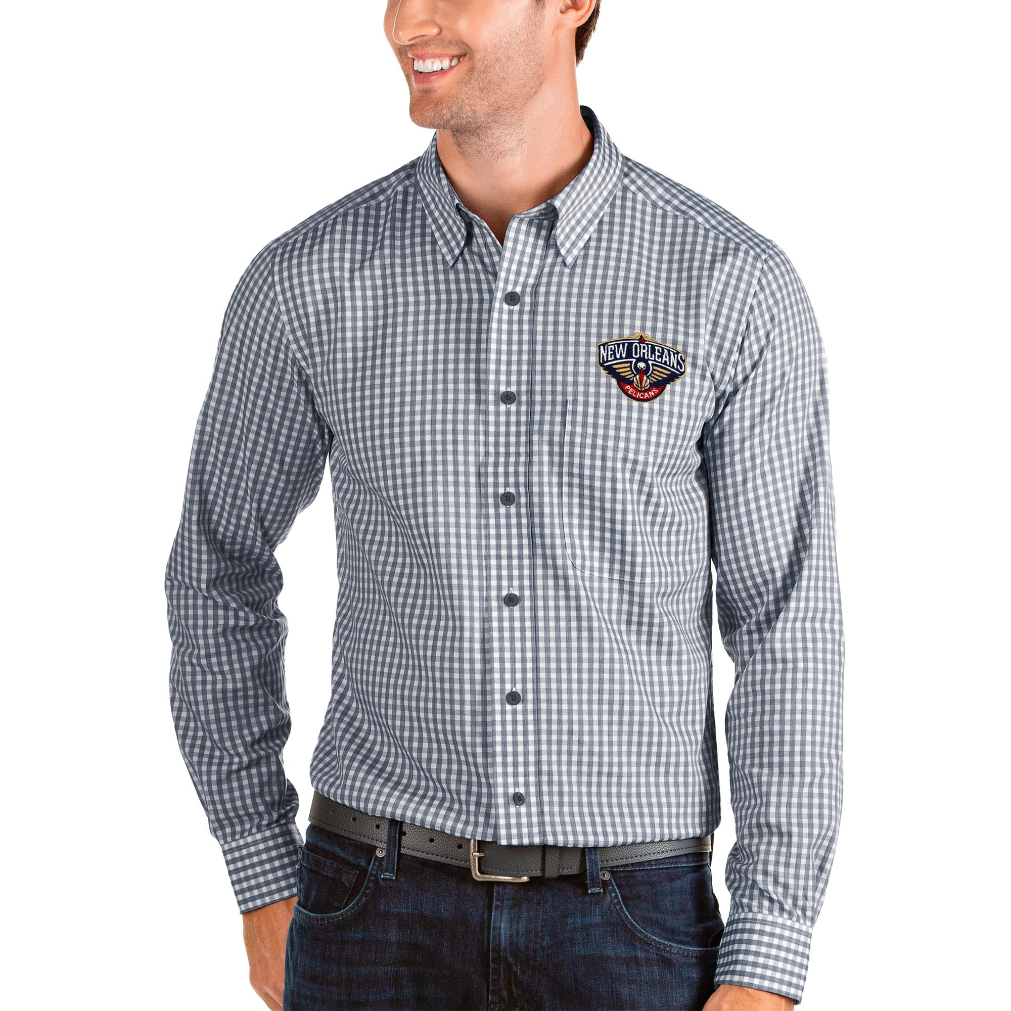 New Orleans Pelicans Antigua Structure Long Sleeve Button-Up Shirt - Navy/White