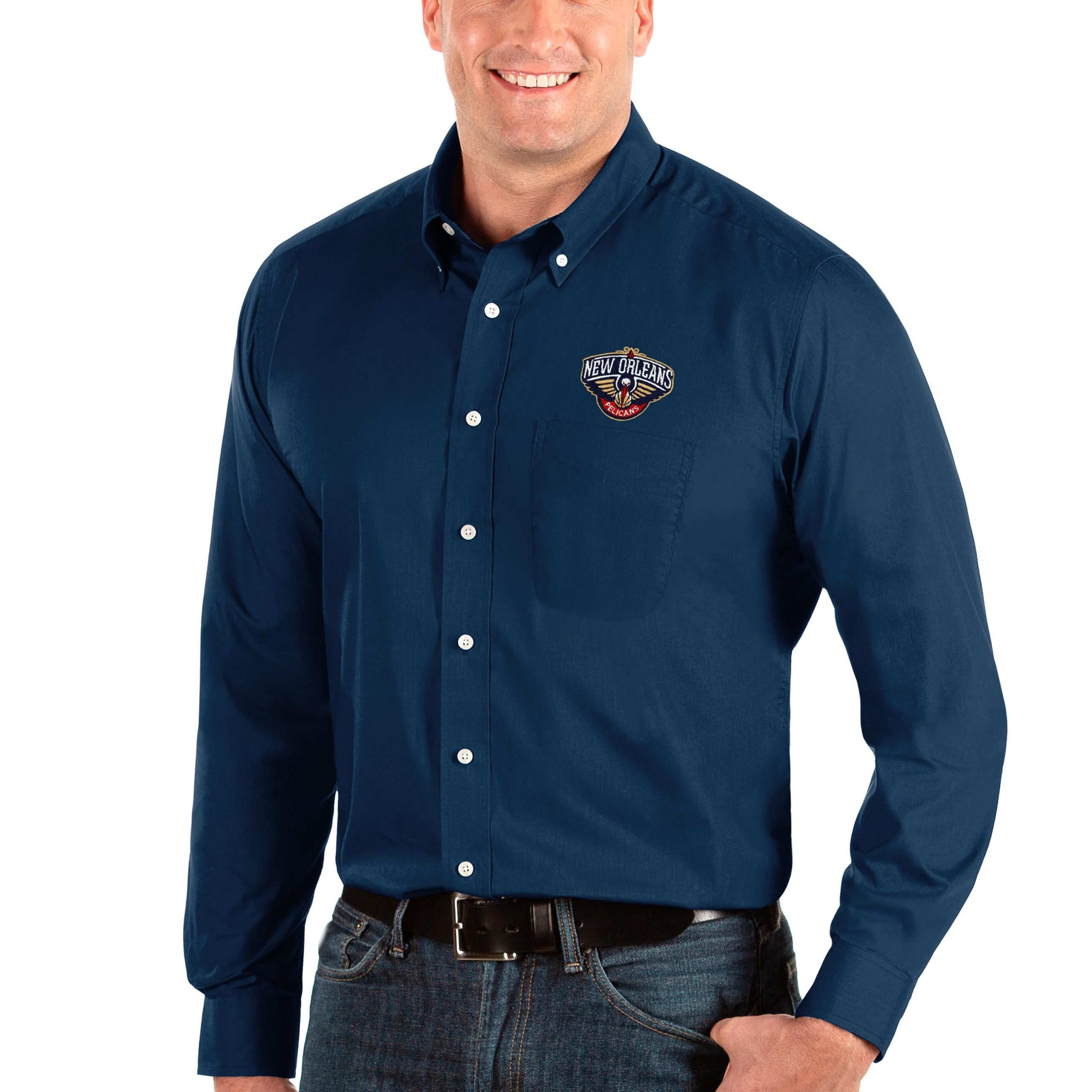 New Orleans Pelicans Antigua Big & Tall Dynasty Long Sleeve Button-Down Shirt - Navy