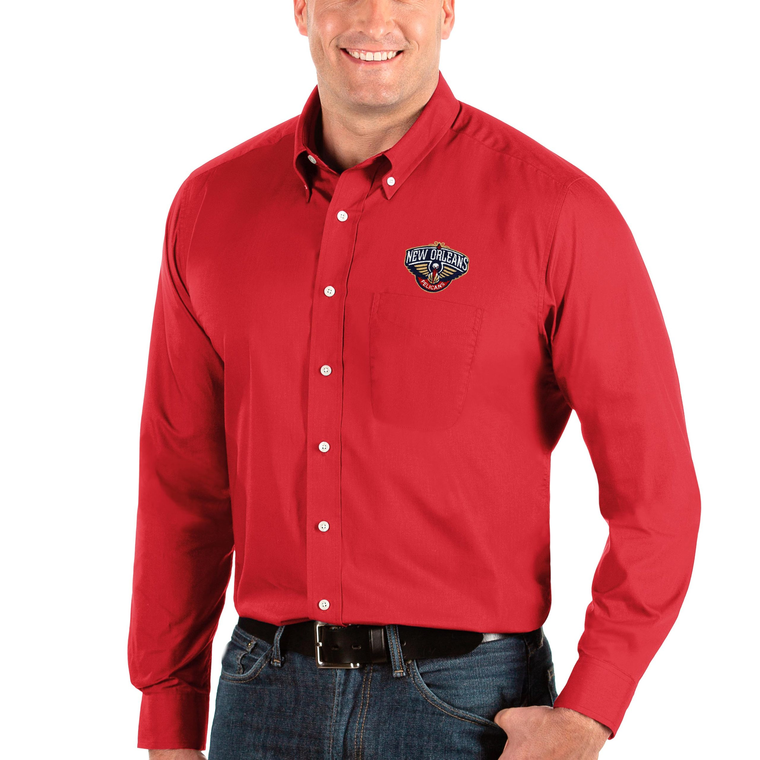 New Orleans Pelicans Antigua Big & Tall Dynasty Long Sleeve Button-Down Shirt - Red