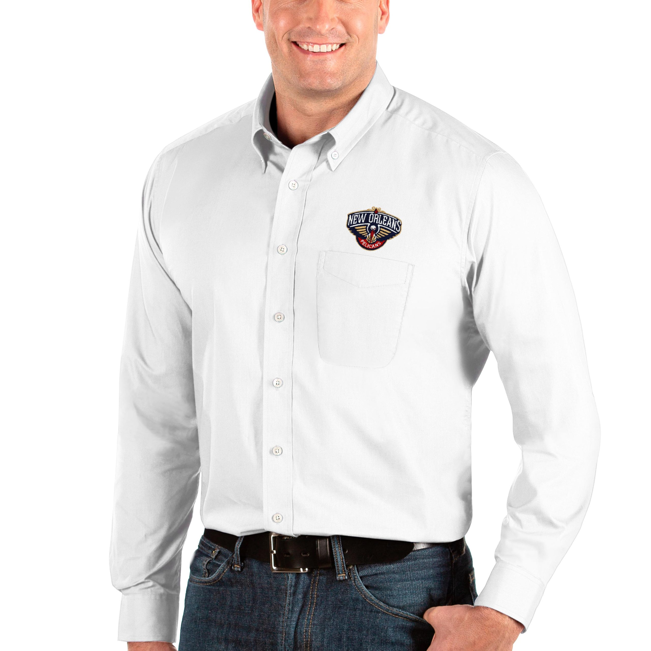 New Orleans Pelicans Antigua Big & Tall Dynasty Long Sleeve Button-Down Shirt - White