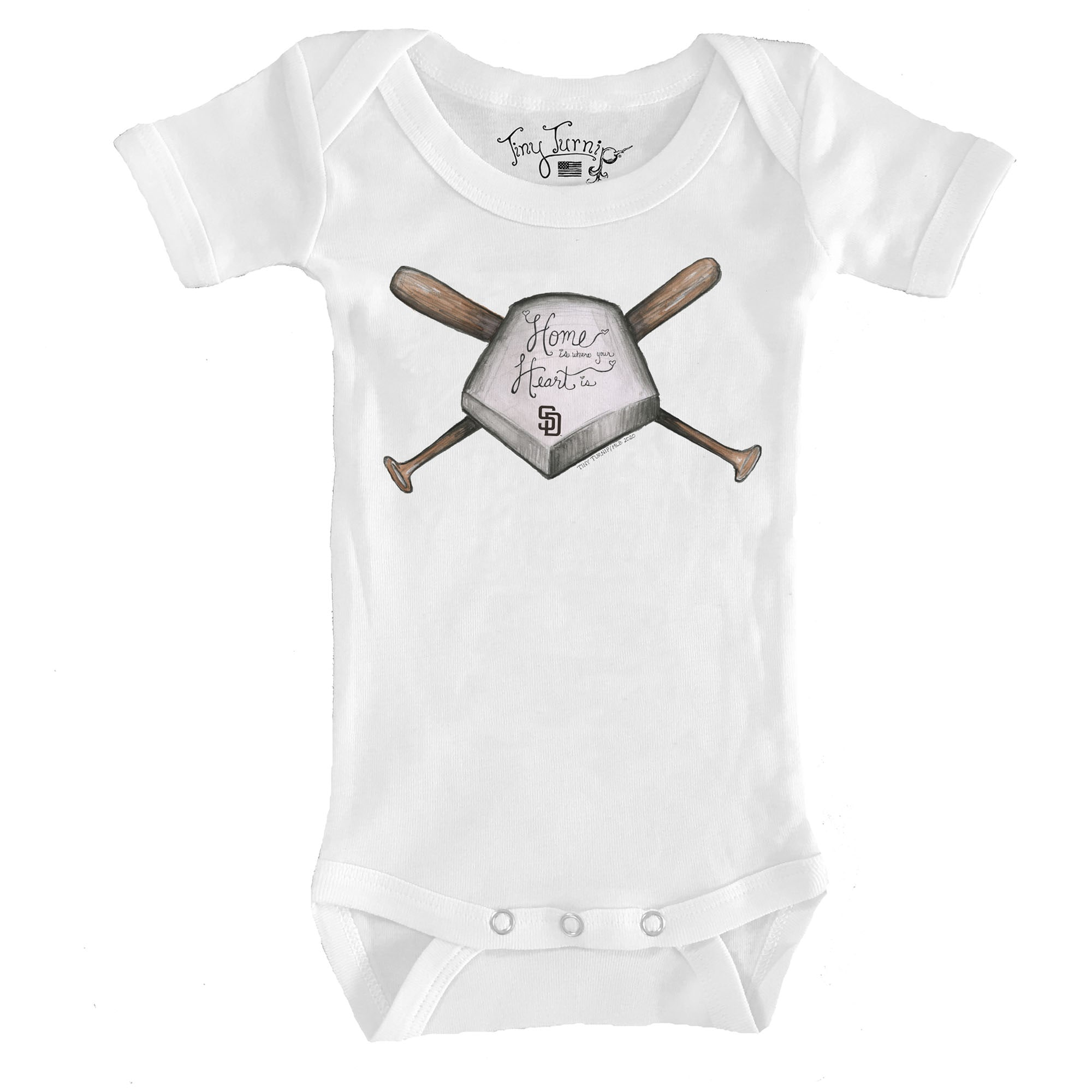 San Diego Padres Tiny Turnip Infant Home Is Where Your Heart Is Bodysuit - White