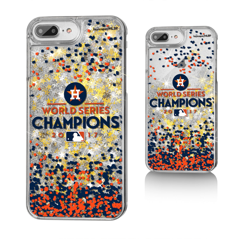 Houston Astros 2017 World Series Champions iPhone 6 Plus/6s Plus/7 Plus/8 Plus Logo Stripe Gold Glitter Case