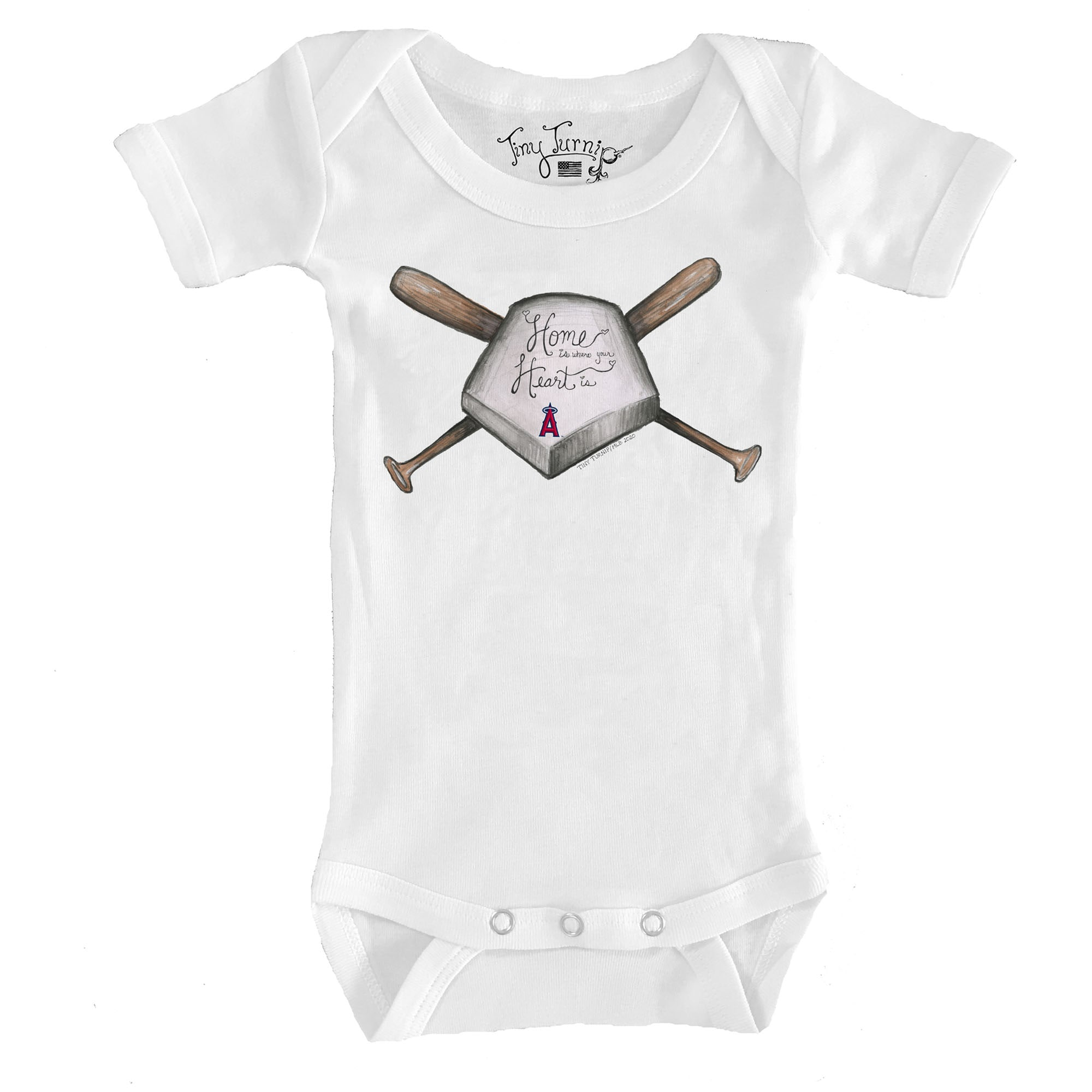 Los Angeles Angels Tiny Turnip Infant Home Is Where Your Heart Is Bodysuit - White