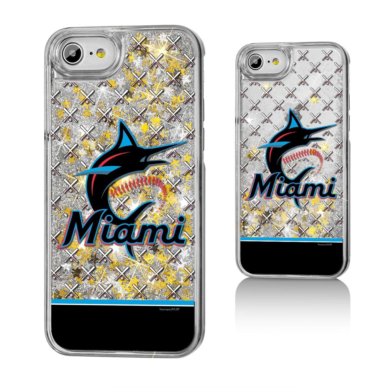 Miami Marlins iPhone 6/6s/7/8 Logo Stripe Gold Glitter Case