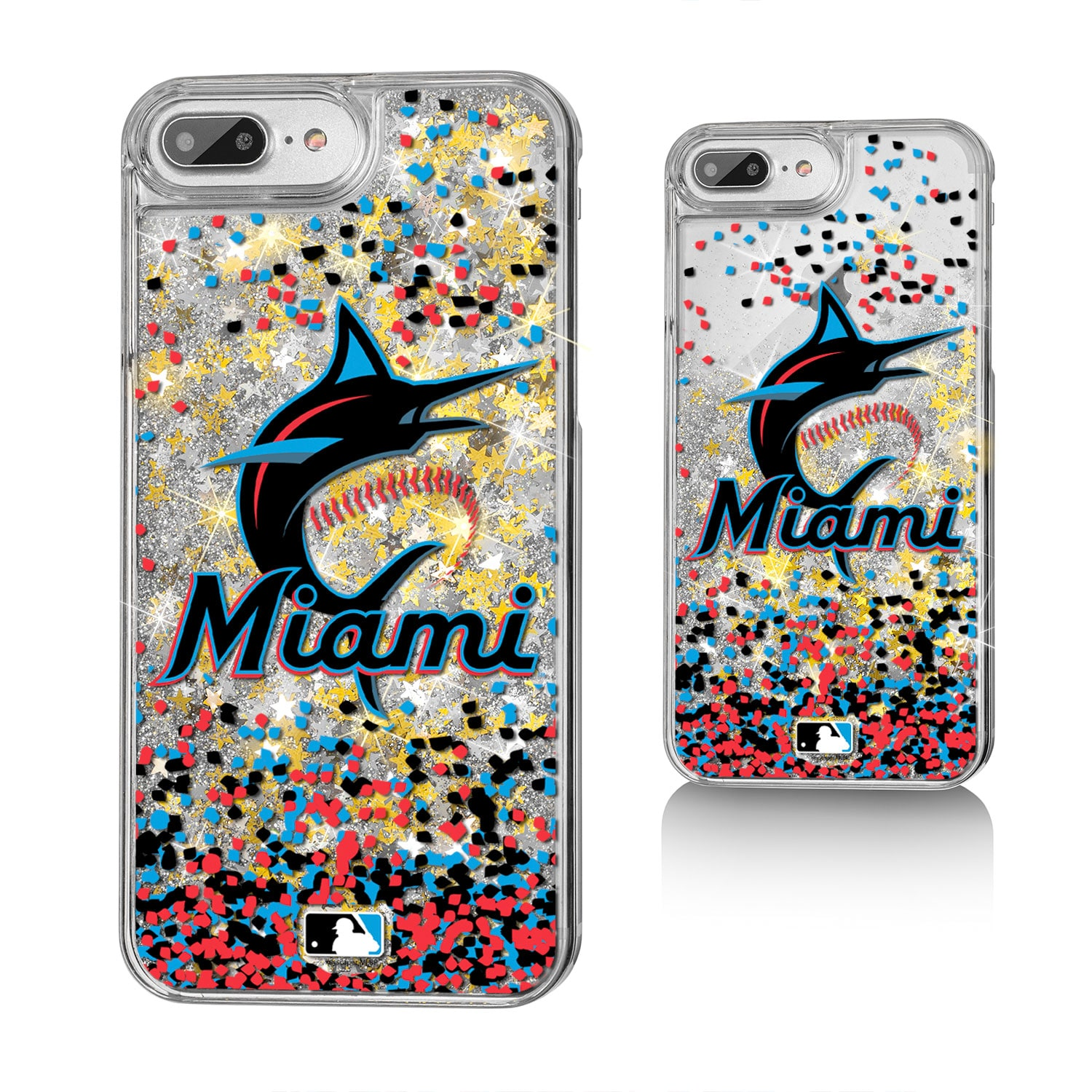 Miami Marlins iPhone 6 Plus/6s Plus/7 Plus/8 Plus Sparkle Gold Glitter Case