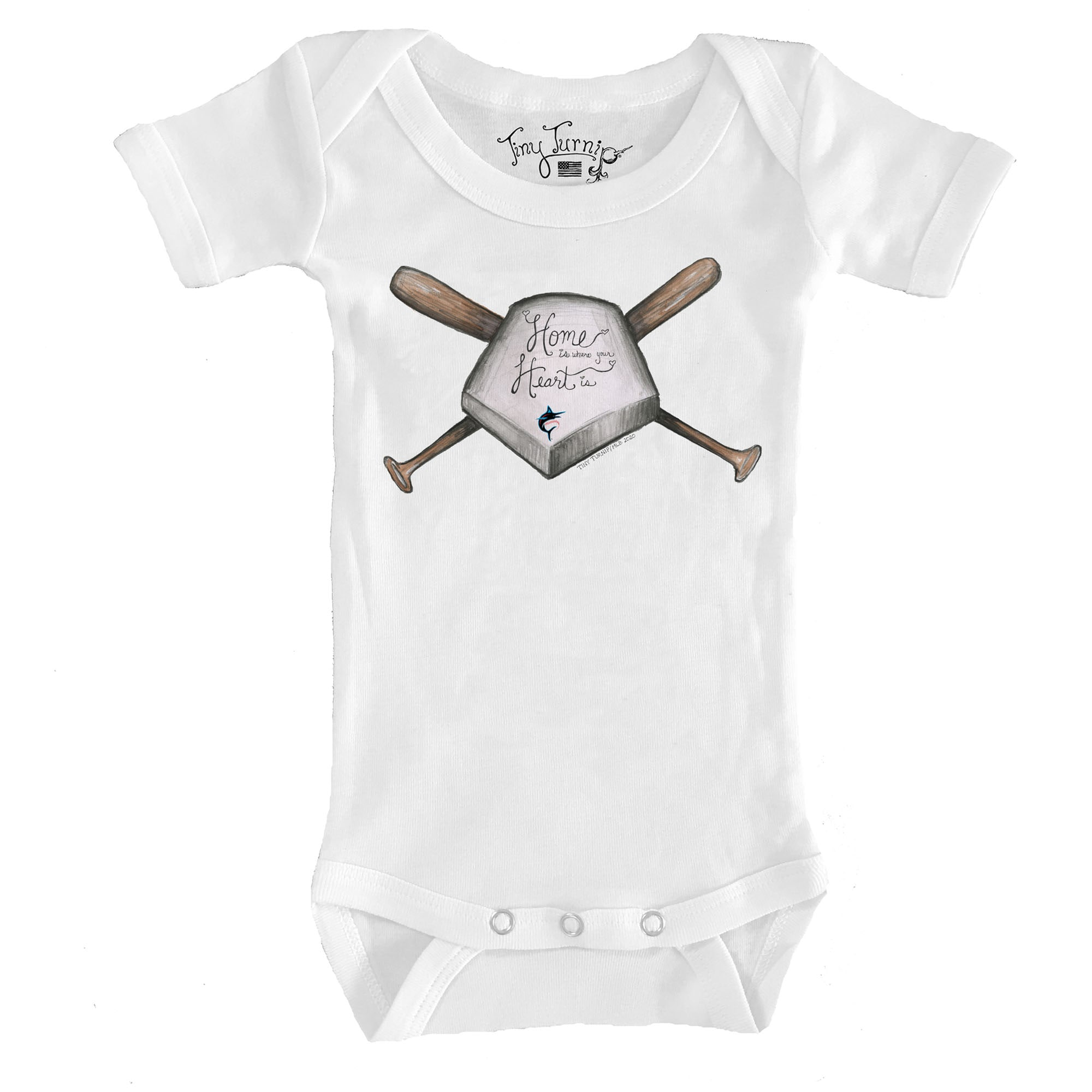Miami Marlins Tiny Turnip Infant Home Is Where Your Heart Is Bodysuit - White