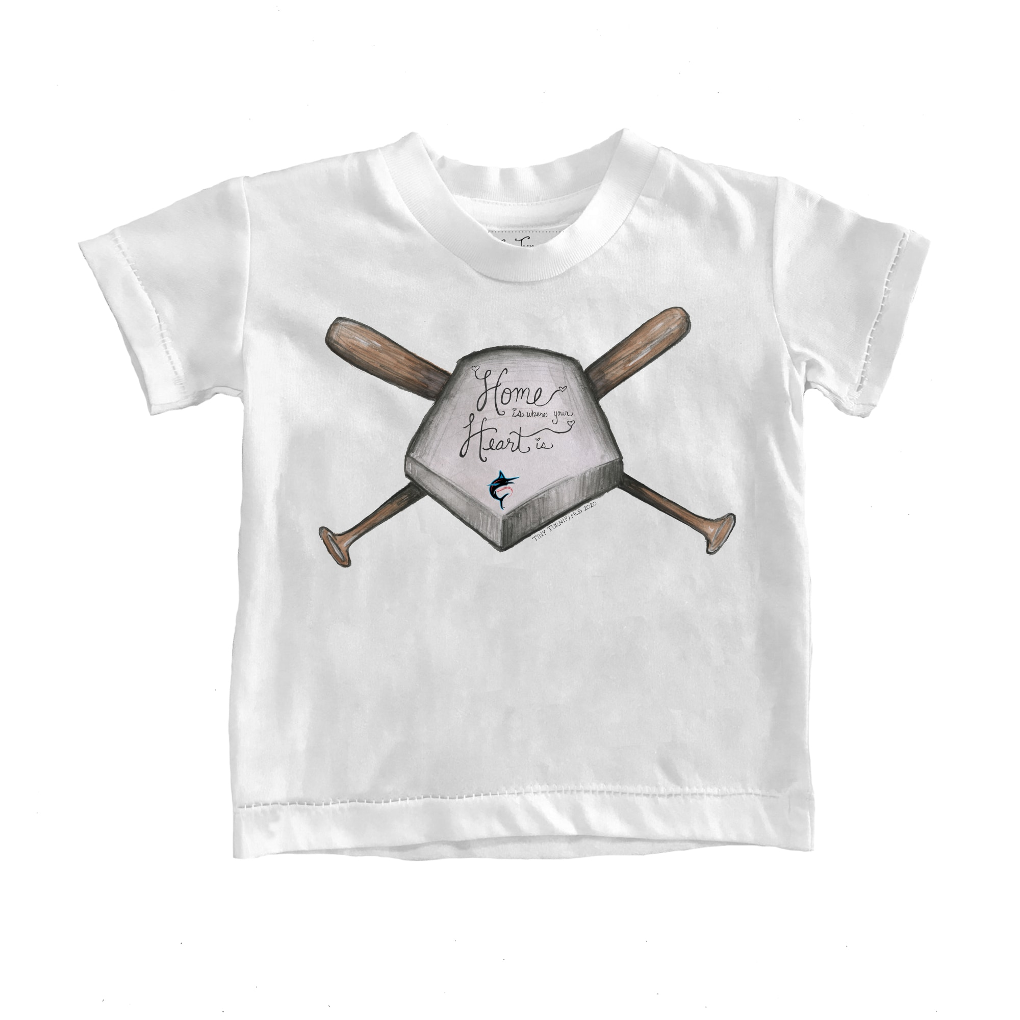 Miami Marlins Tiny Turnip Toddler Home Is Where Your Heart Is T-Shirt - White