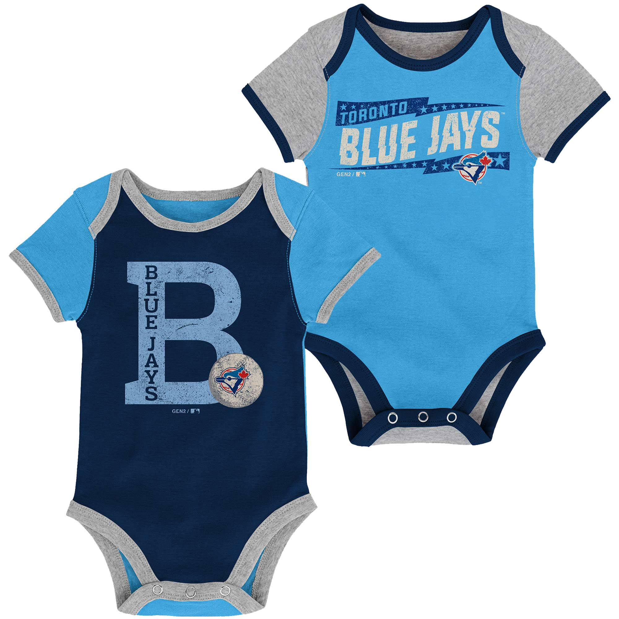 Toronto Blue Jays Newborn Baseball Star Two-Pack Bodysuit Set - Royal/Light Blue