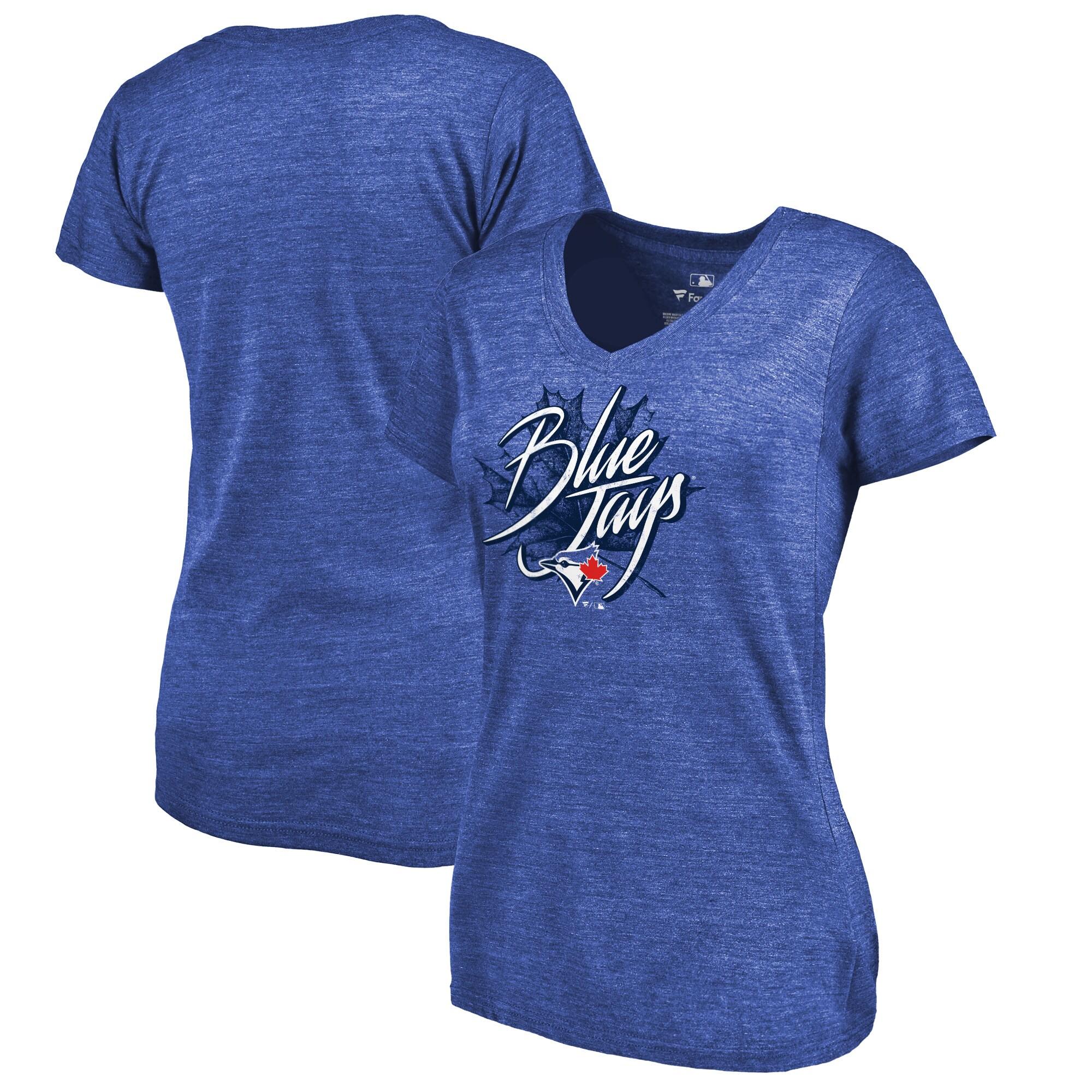 Toronto Blue Jays Fanatics Branded Women's Hometown Collection Blue Leaf V-Neck T-Shirt - Royal