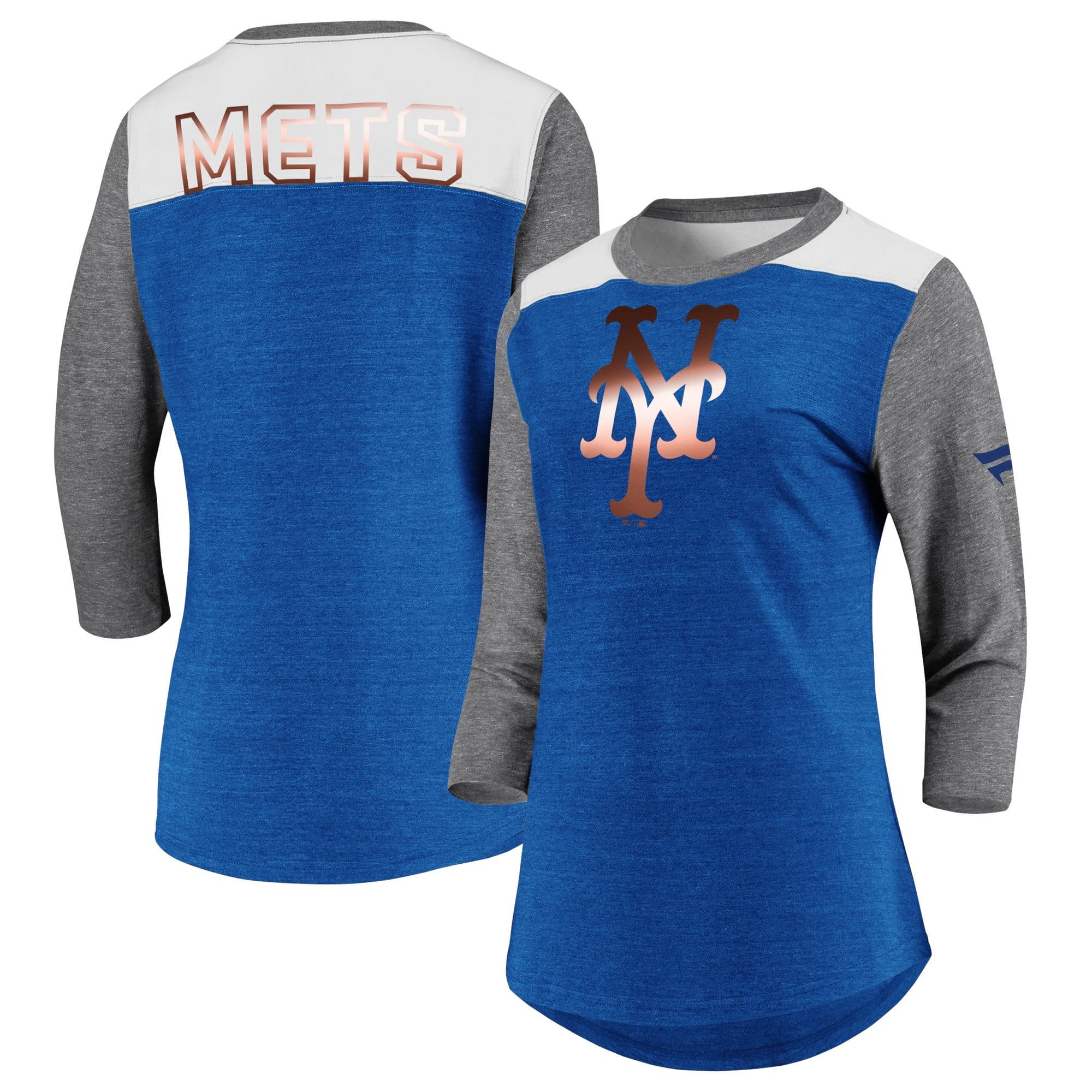 New York Mets Fanatics Branded Women's Iconic Tri-Blend 3/4 Sleeve T-Shirt - Royal/Gray