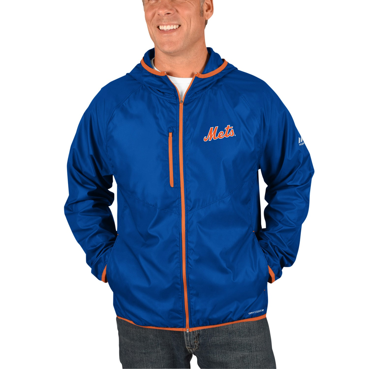 New York Mets Majestic Strong Will Dry Base Full-Zip Hooded Jacket - Royal
