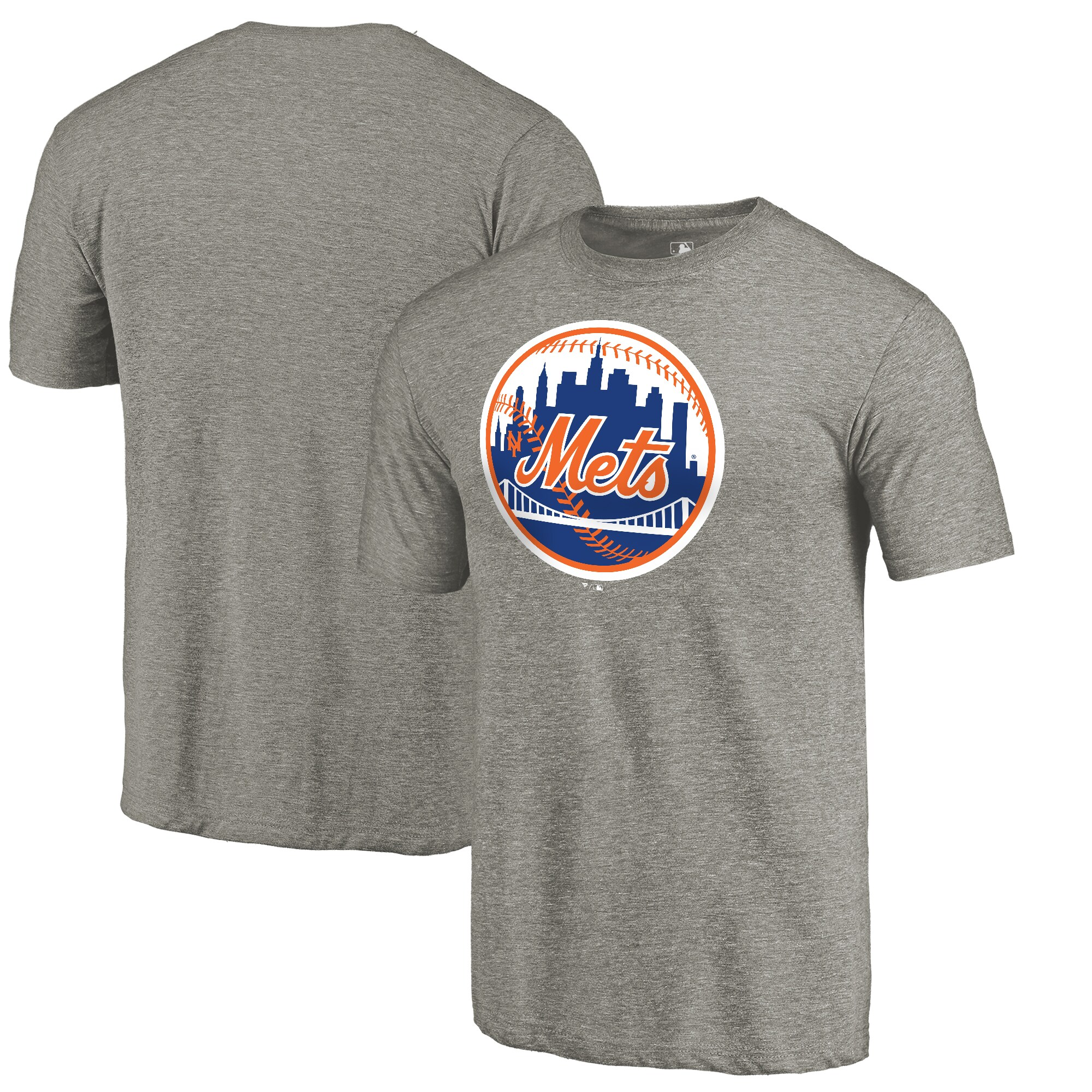 New York Mets Fanatics Branded Cooperstown Collection Forbes Tri-Blend T-Shirt - Ash