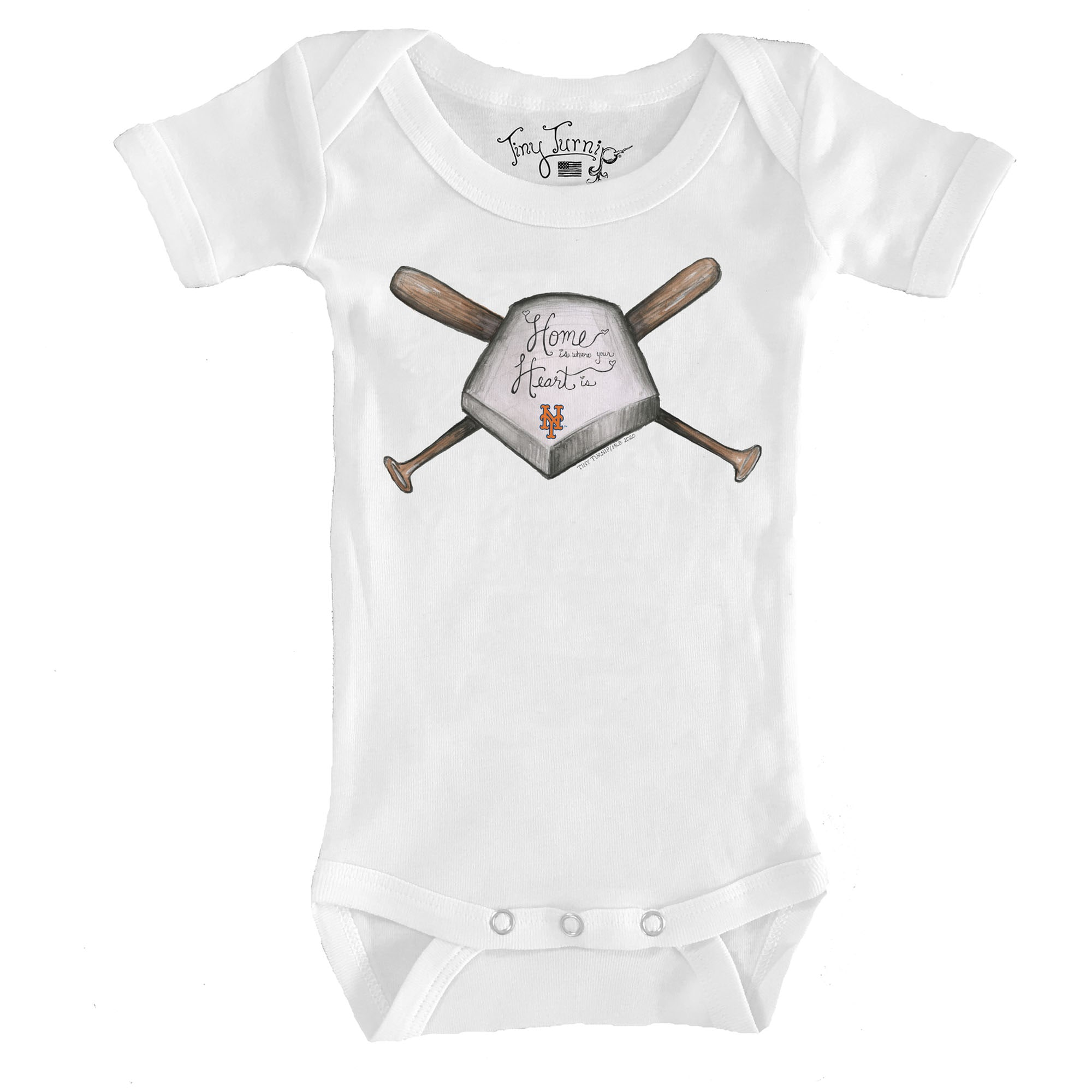 New York Mets Tiny Turnip Infant Home Is Where Your Heart Is Bodysuit - White