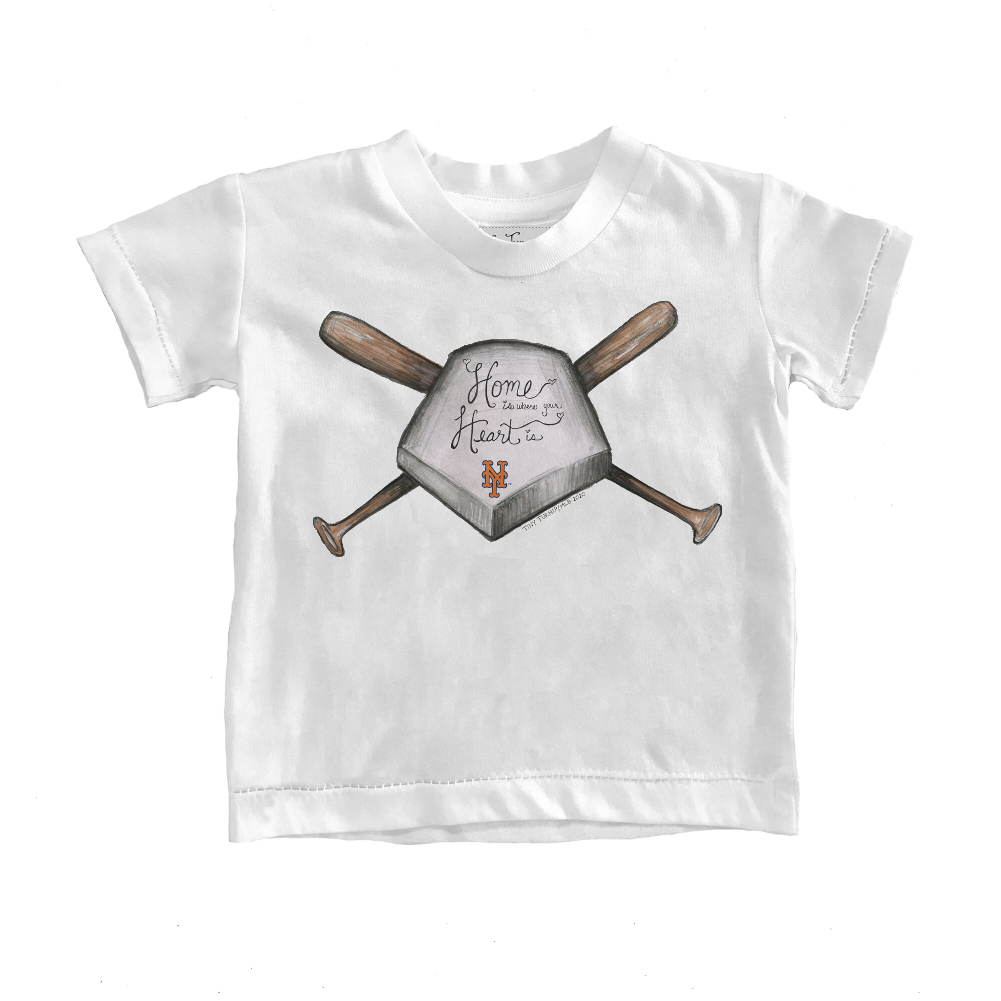 New York Mets Tiny Turnip Toddler Home Is Where Your Heart Is T-Shirt - White