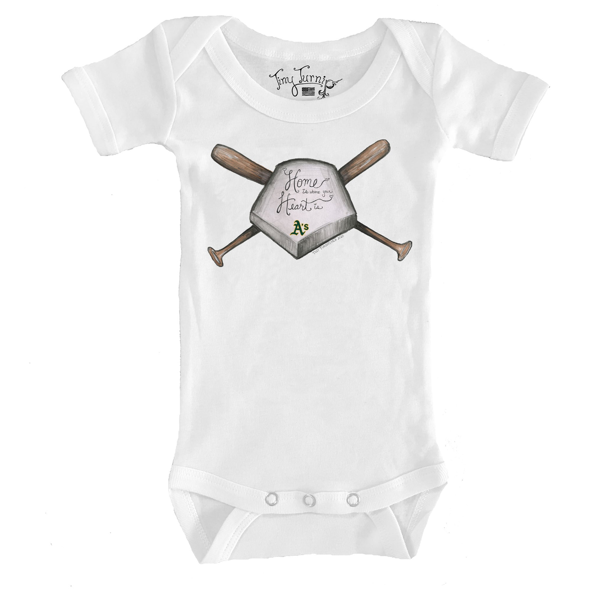 Oakland Athletics Tiny Turnip Infant Home Is Where Your Heart Is Bodysuit - White