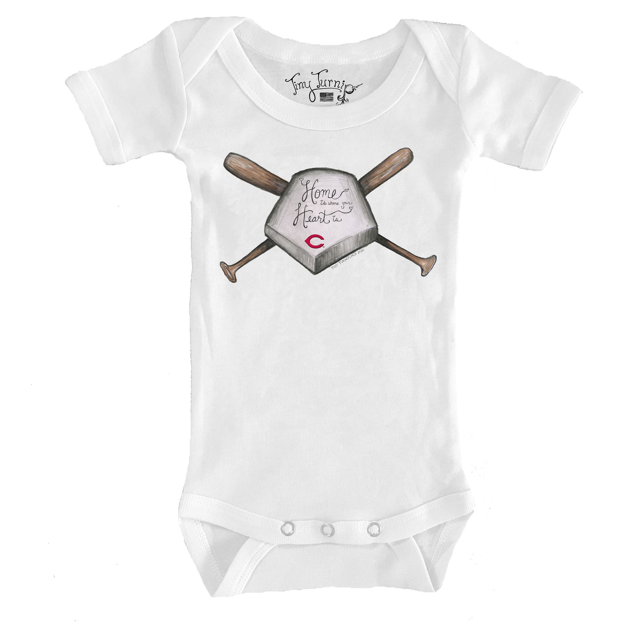 Cincinnati Reds Tiny Turnip Infant Home Is Where Your Heart Is Bodysuit - White