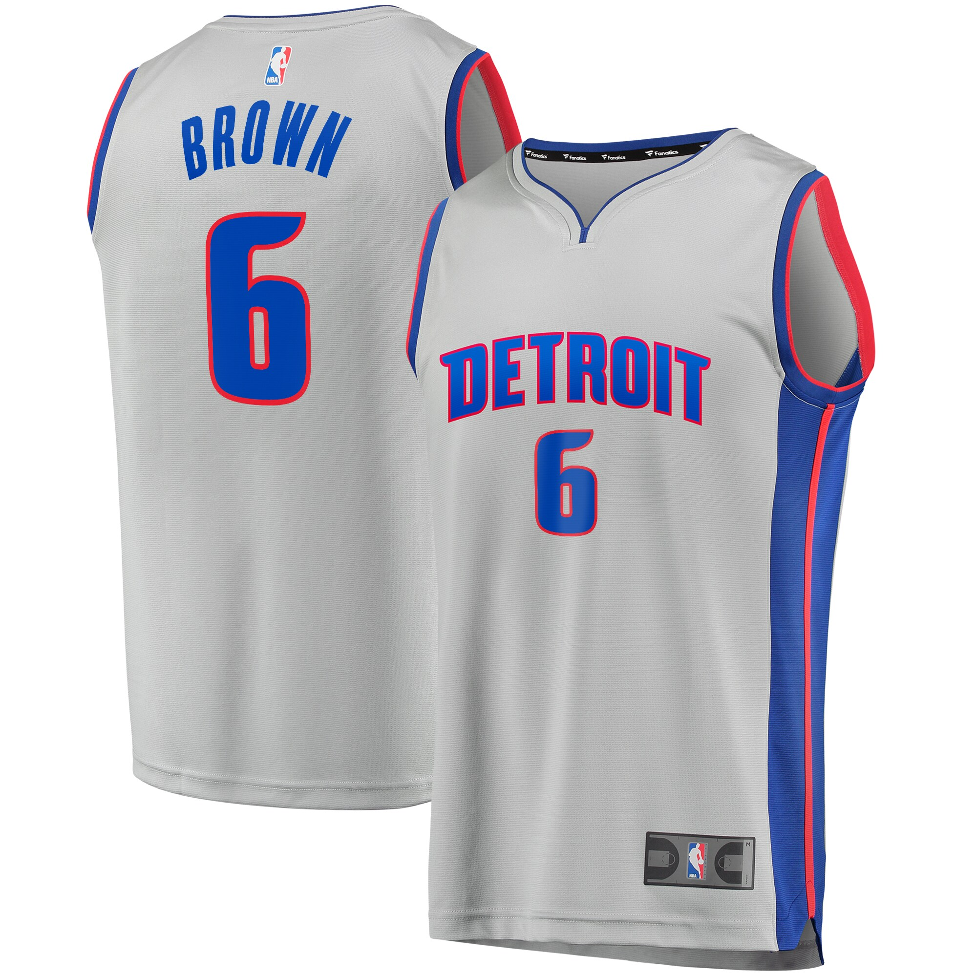 Bruce Brown Detroit Pistons Fanatics Branded Youth Fast Break Replica Player Jersey - Statement Edition - Gray