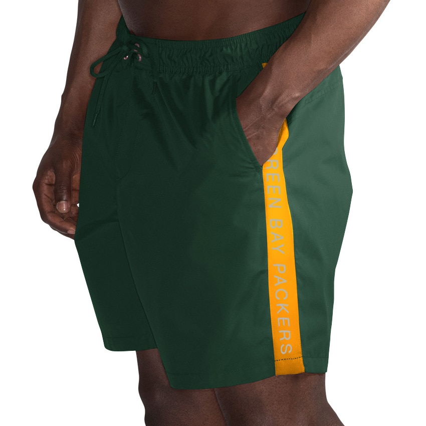 Green Bay Packers G-III Sports by Carl Banks Volley Swim Trunks - Green/Gold